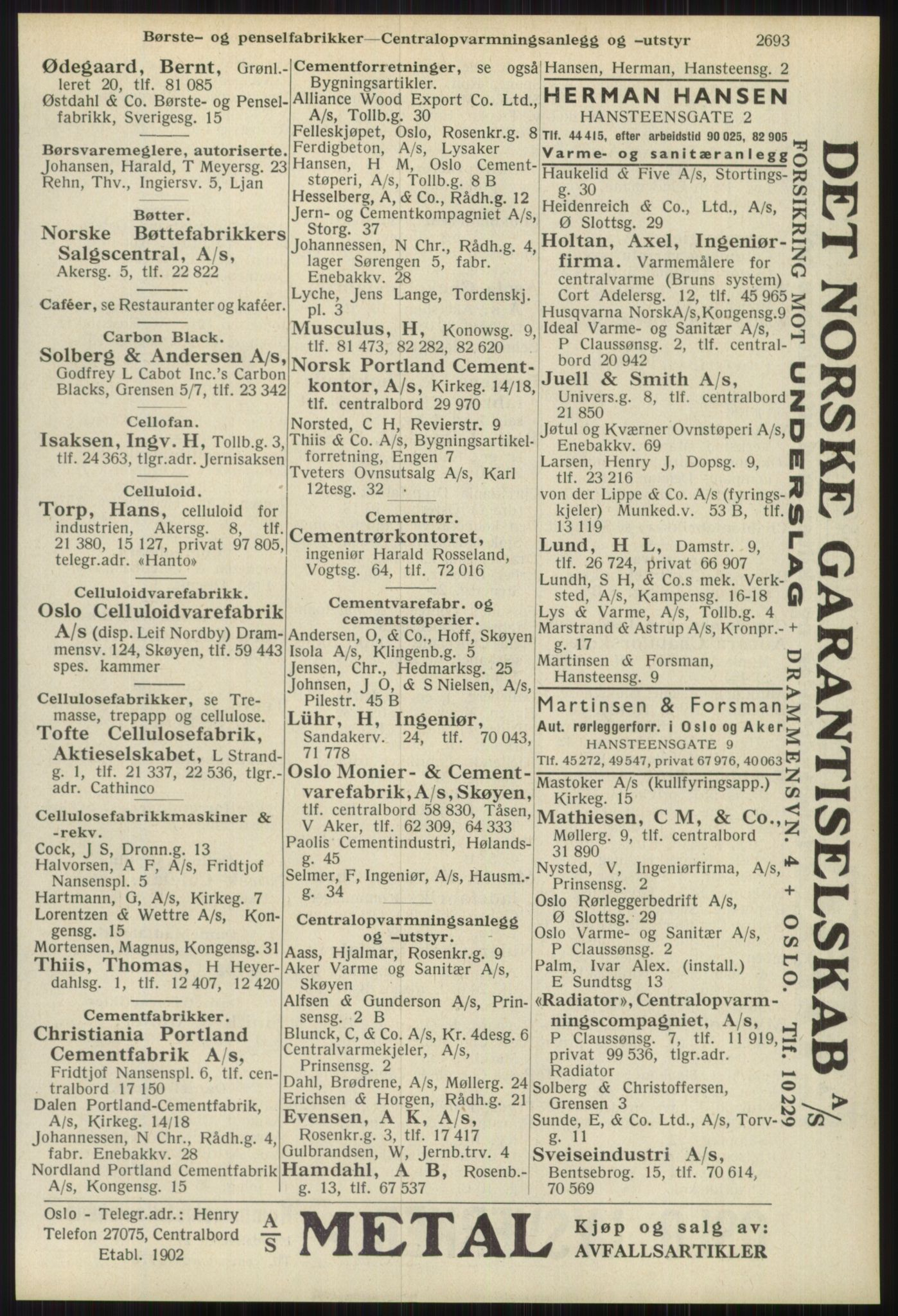 RA, Oslo adressebok (publikasjon)*, 1939, s. 2693
