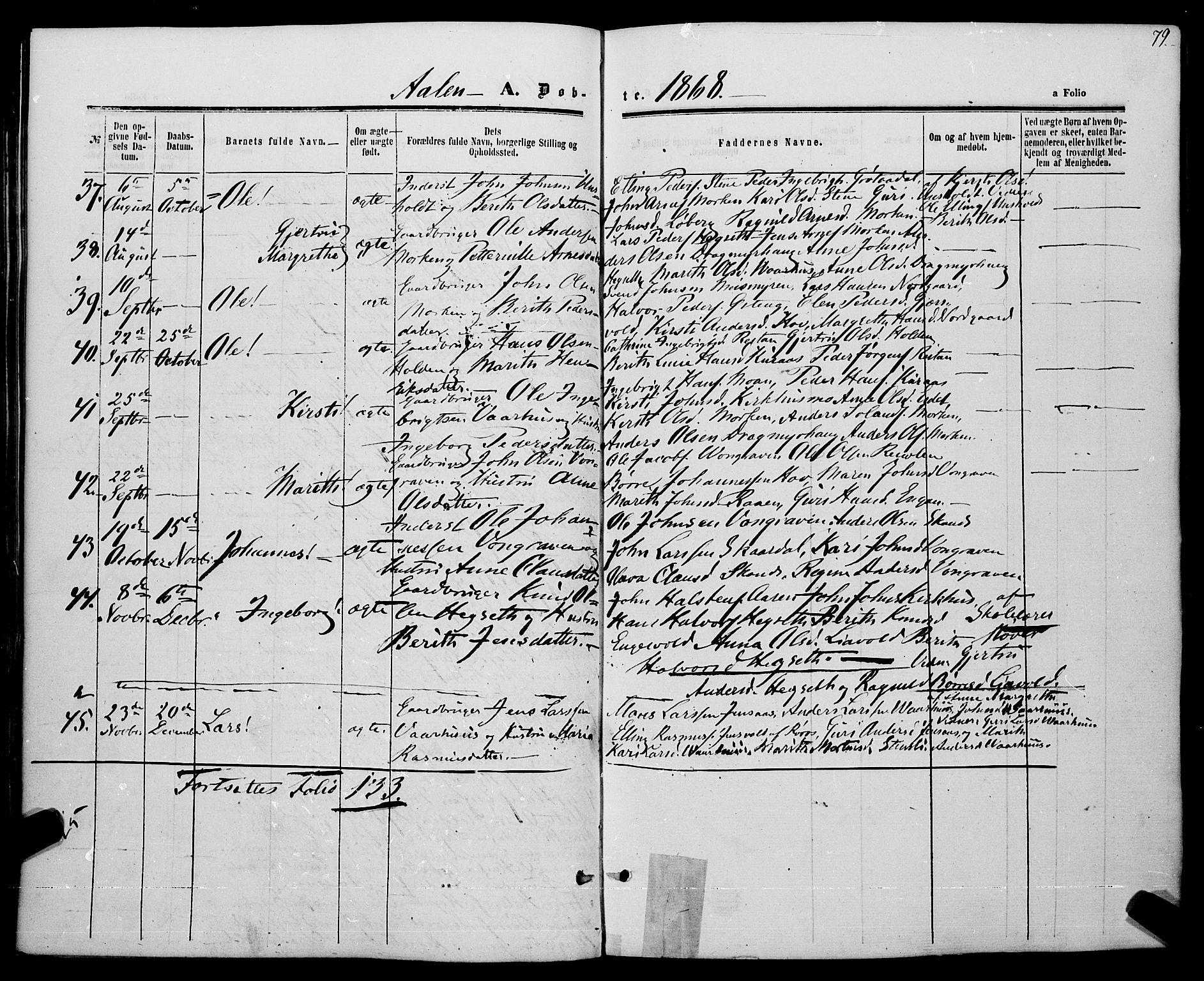 SAT, Ministerialprotokoller, klokkerbøker og fødselsregistre - Sør-Trøndelag, 685/L0968: Ministerialbok nr. 685A07 /3, 1860-1869, s. 79
