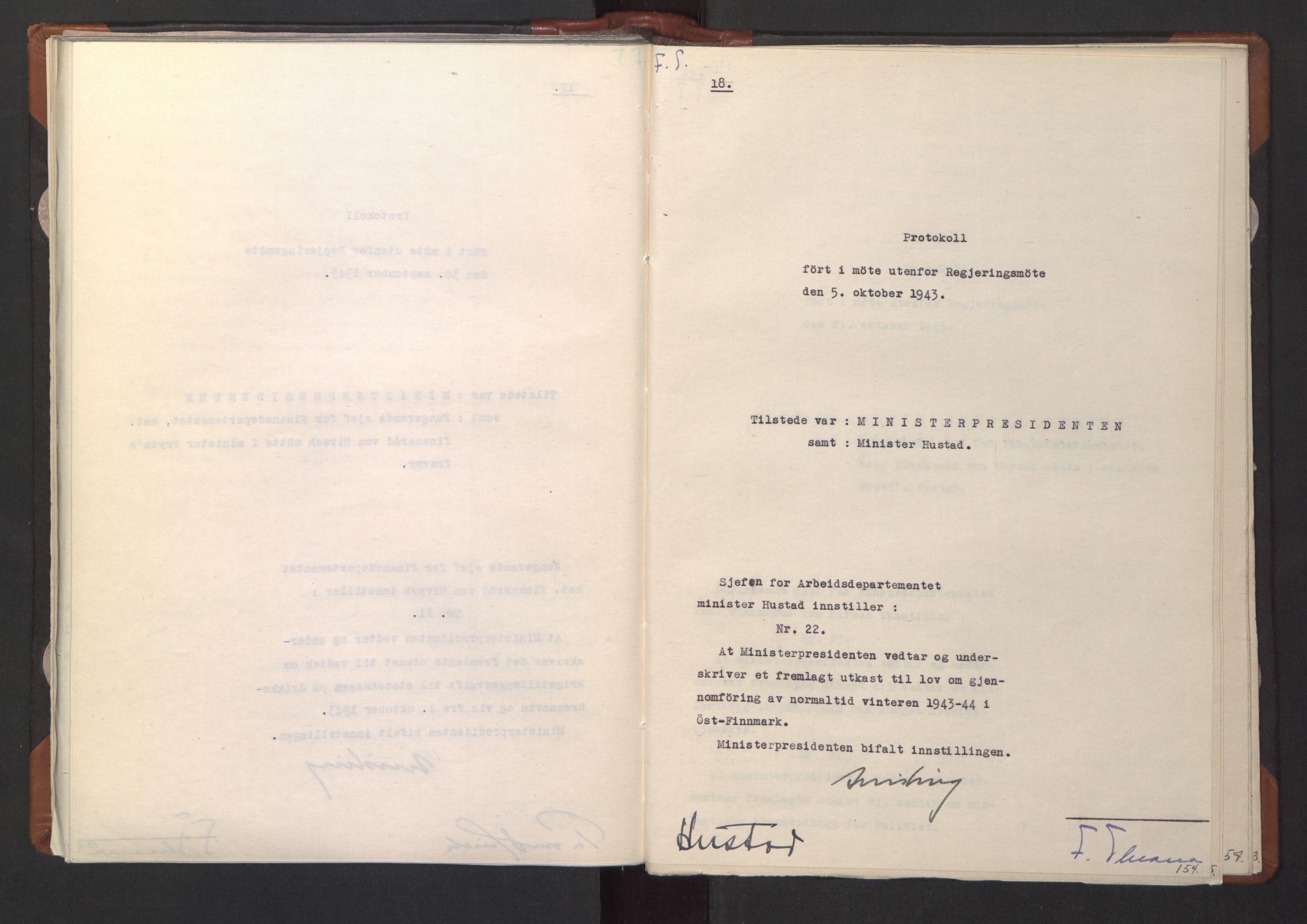 RA, NS-administrasjonen 1940-1945 (Statsrådsekretariatet, de kommisariske statsråder mm), D/Da/L0003: Vedtak (Beslutninger) nr. 1-746 og tillegg nr. 1-47 (RA. j.nr. 1394/1944, tilgangsnr. 8/1944, 1943, s. 153b-154a