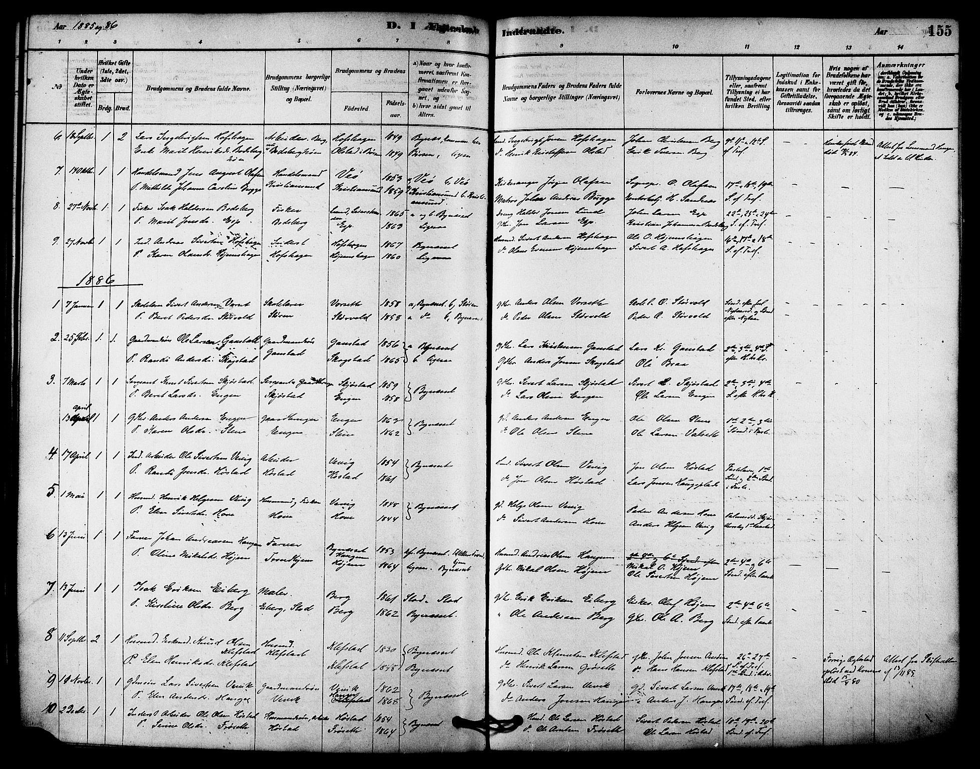 SAT, Ministerialprotokoller, klokkerbøker og fødselsregistre - Sør-Trøndelag, 612/L0378: Ministerialbok nr. 612A10, 1878-1897, s. 155