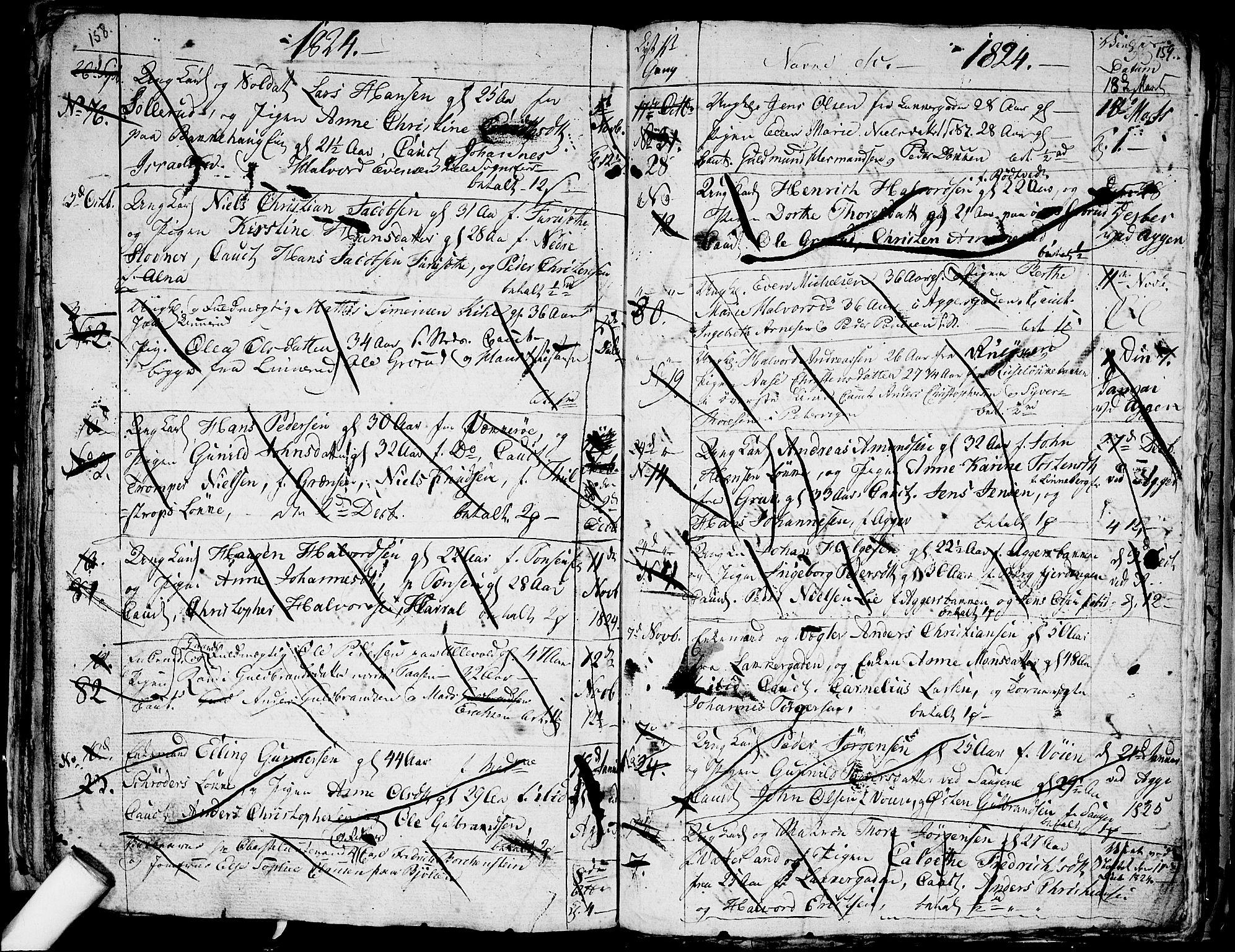 SAO, Aker prestekontor kirkebøker, G/L0001: Klokkerbok nr. 1, 1796-1826, s. 158-159
