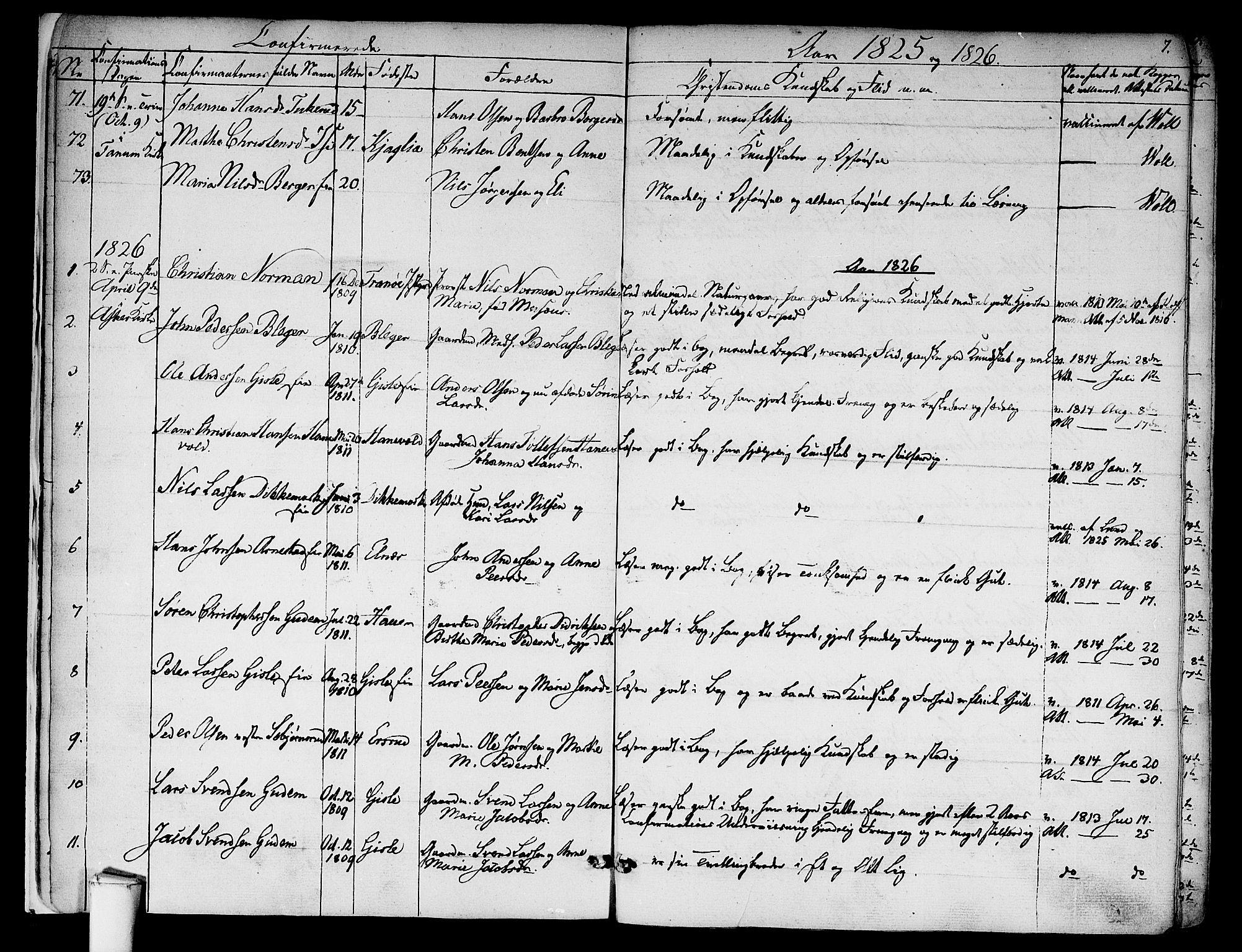 SAO, Asker prestekontor Kirkebøker, F/Fa/L0009: Ministerialbok nr. I 9, 1825-1878, s. 7