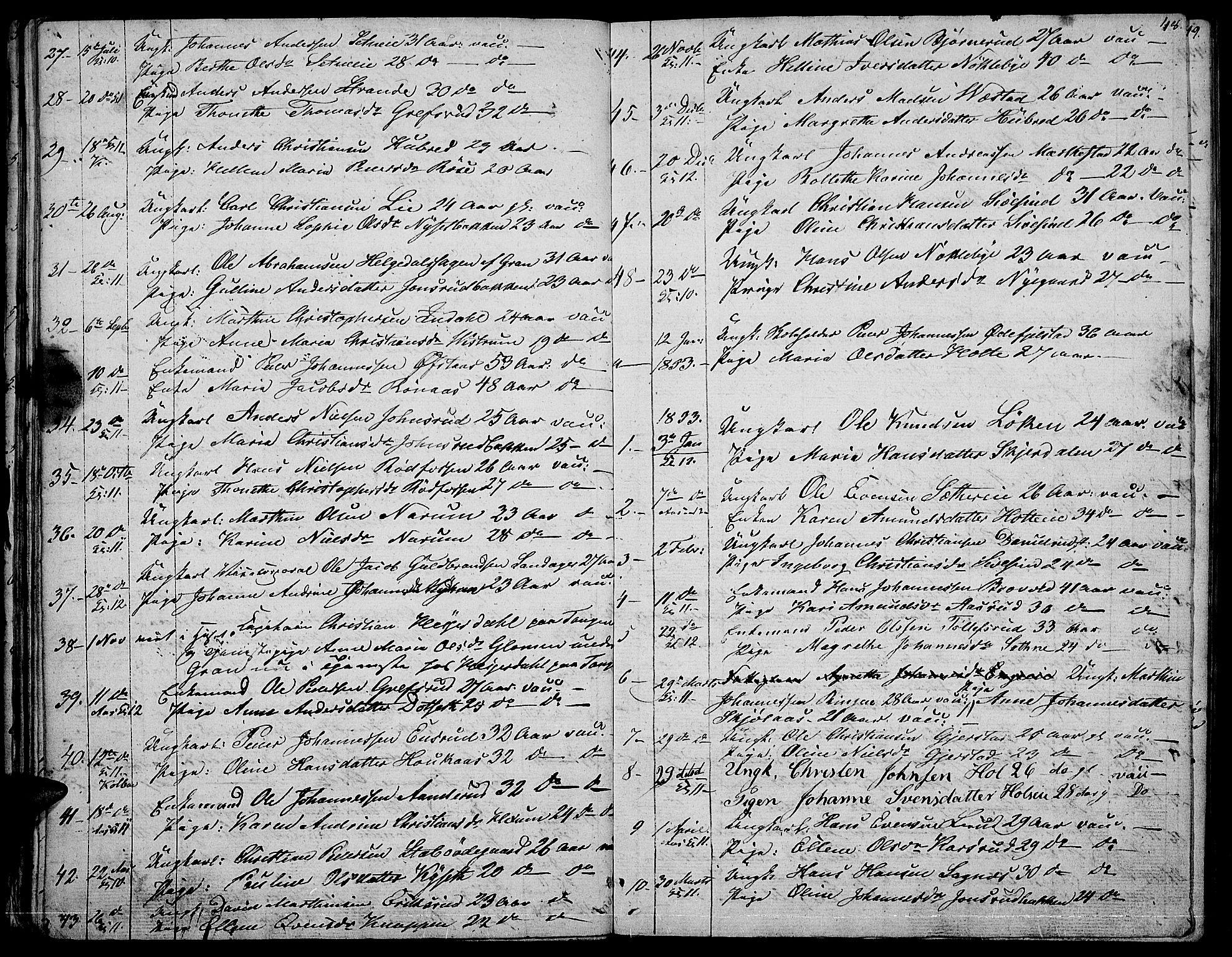 SAH, Vestre Toten prestekontor, Klokkerbok nr. 3, 1846-1854, s. 48