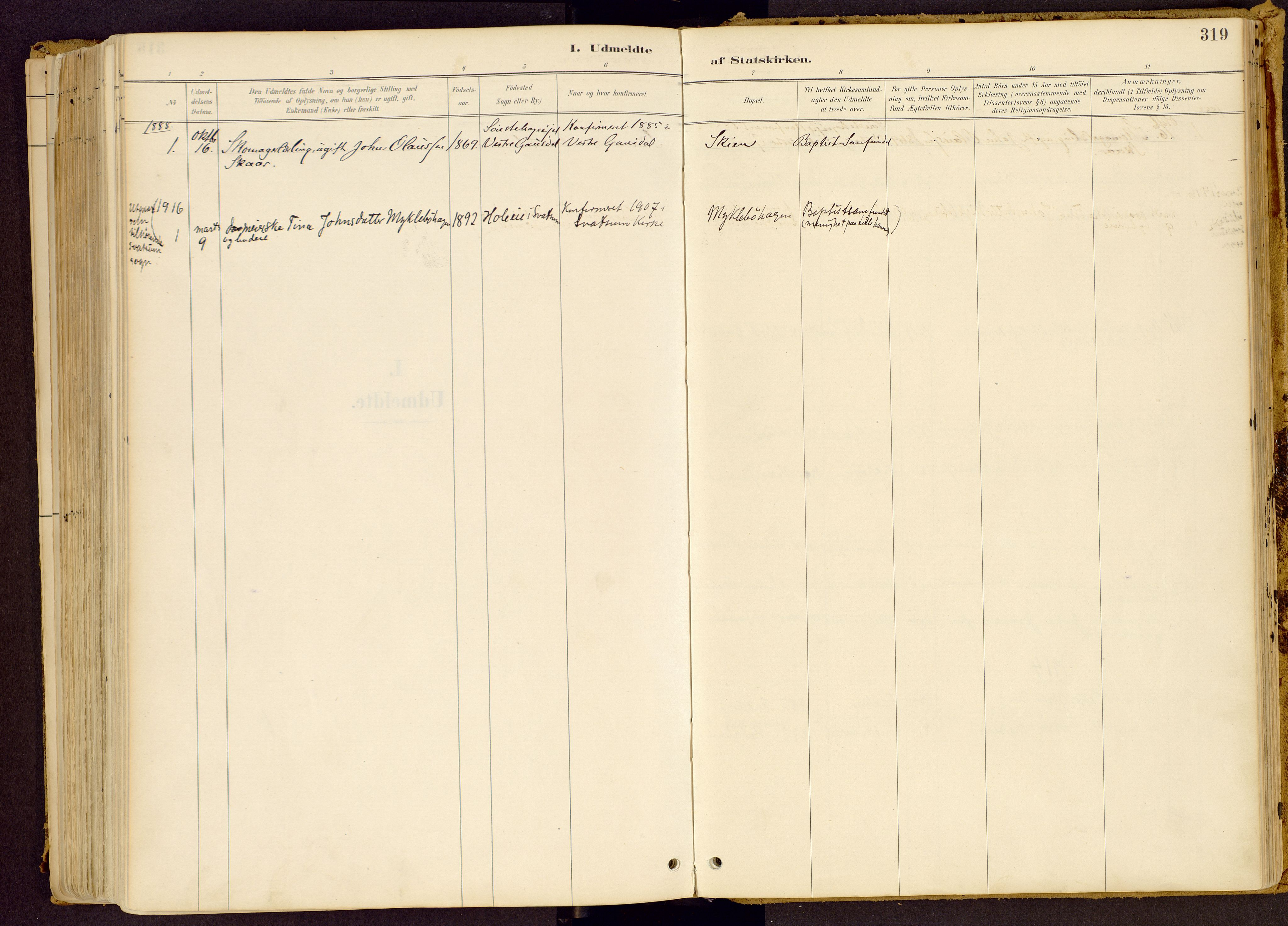 SAH, Vestre Gausdal prestekontor, Ministerialbok nr. 1, 1887-1914, s. 319
