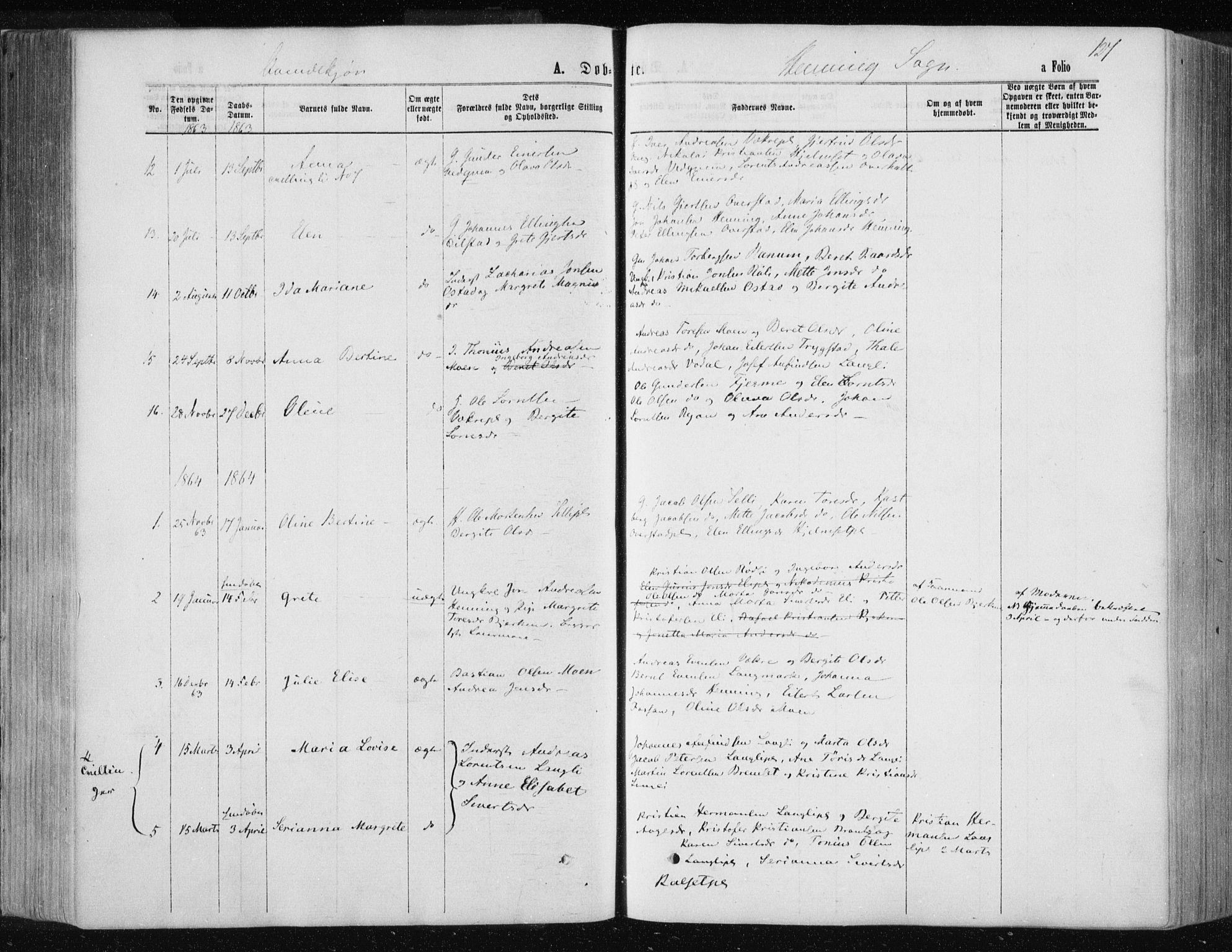 SAT, Ministerialprotokoller, klokkerbøker og fødselsregistre - Nord-Trøndelag, 735/L0345: Ministerialbok nr. 735A08 /3, 1863-1872, s. 127