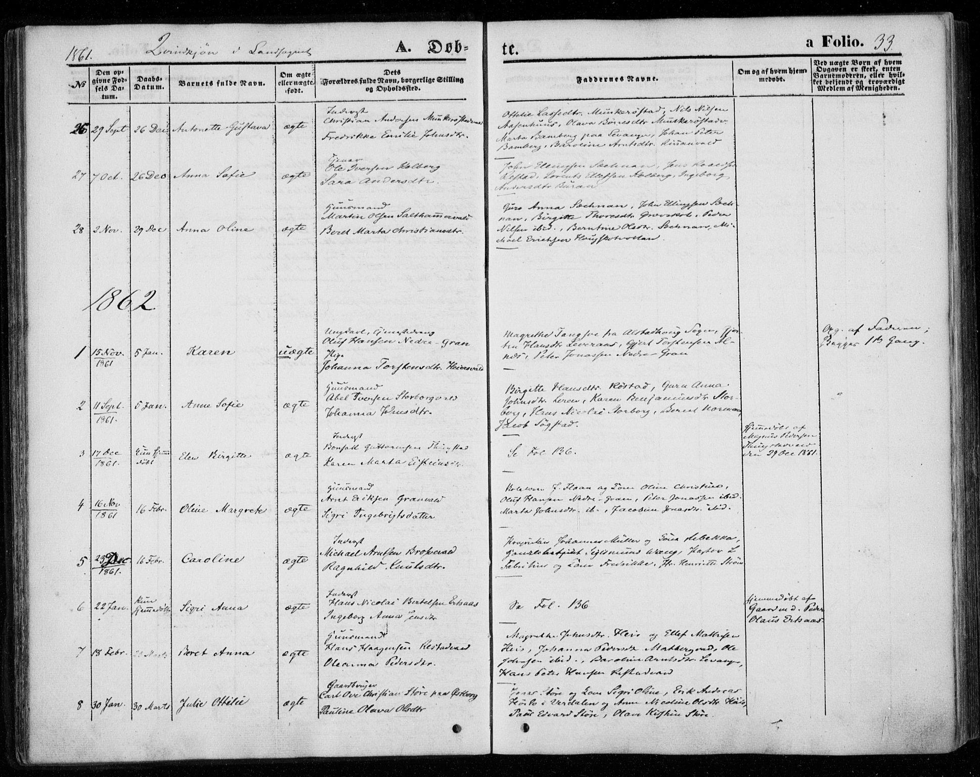SAT, Ministerialprotokoller, klokkerbøker og fødselsregistre - Nord-Trøndelag, 720/L0184: Ministerialbok nr. 720A02 /2, 1855-1863, s. 33