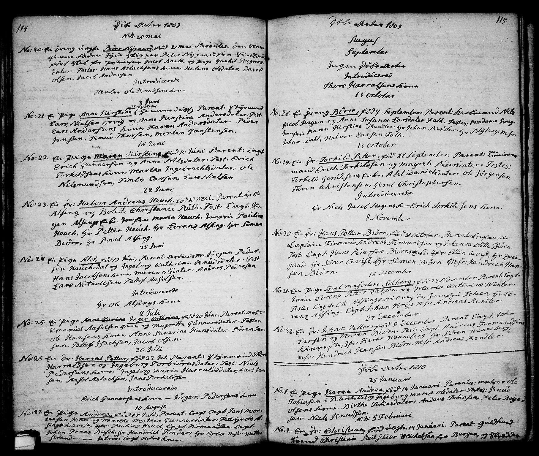SAKO, Kragerø kirkebøker, G/Ga/L0001: Klokkerbok nr. 1 /1, 1806-1811, s. 114-115