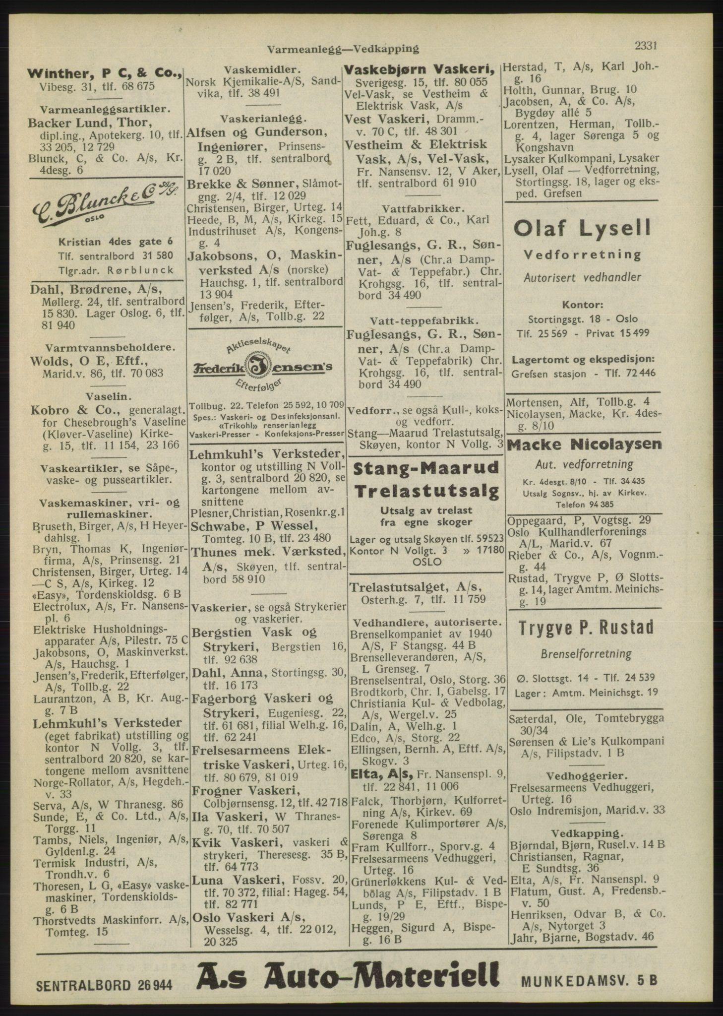 RA, Oslo adressebok (publikasjon)*, 1946, s. 2331