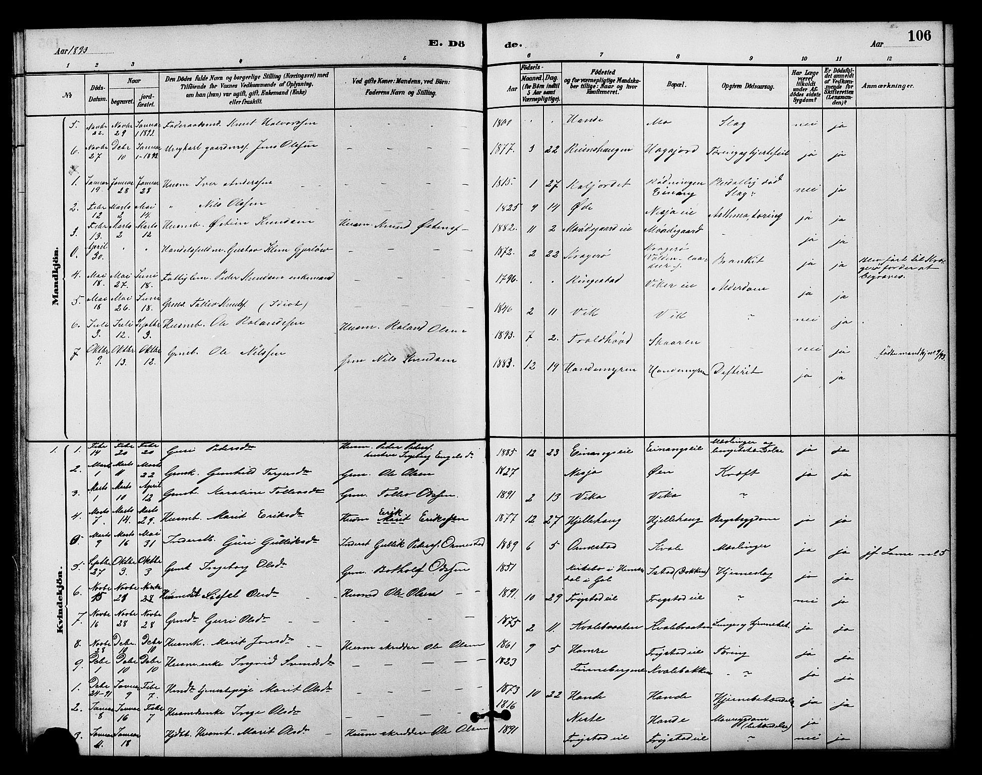 SAH, Vestre Slidre prestekontor, Klokkerbok nr. 4, 1881-1912, s. 106