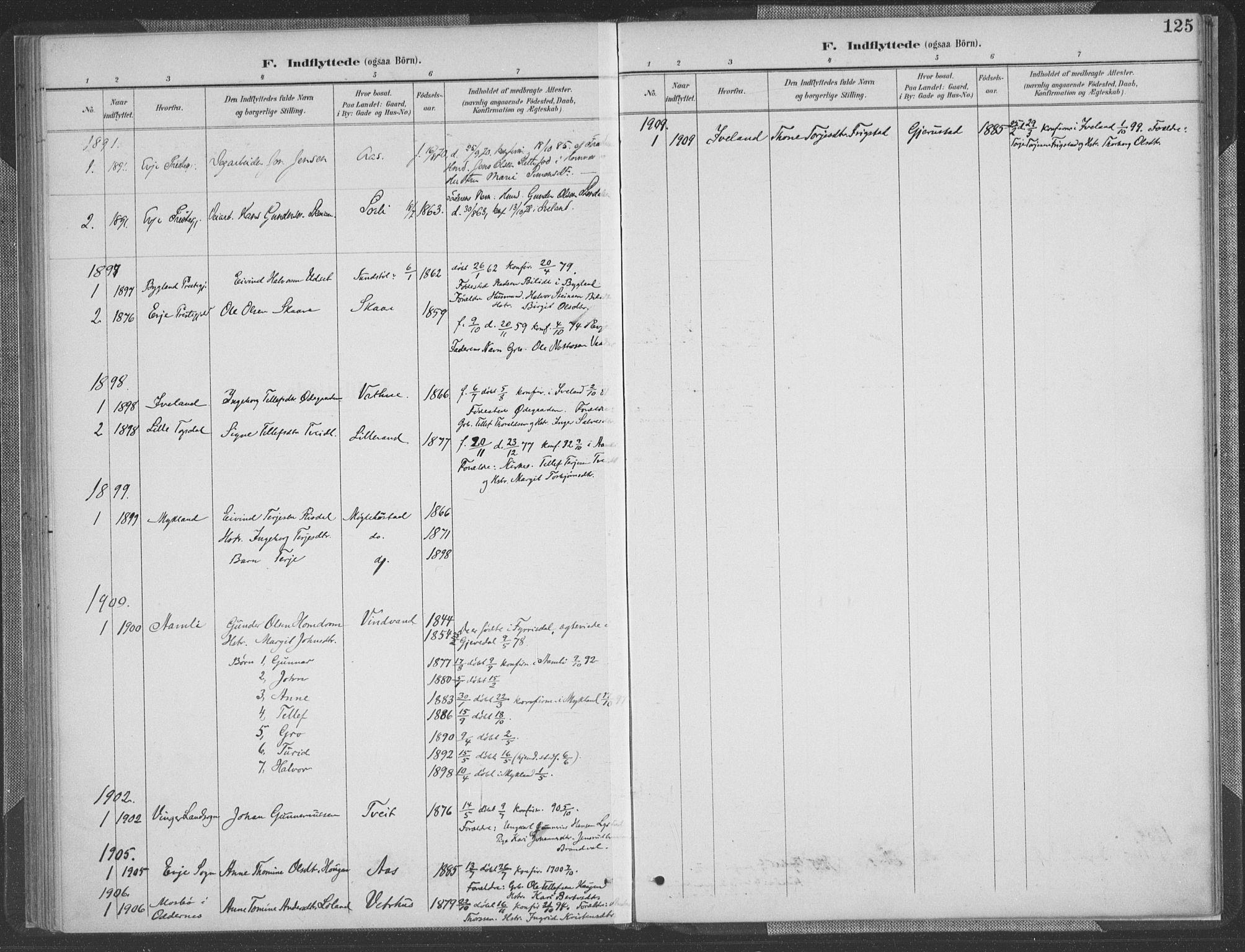 SAK, Herefoss sokneprestkontor, F/Fa/Fab/L0004: Ministerialbok nr. A 4, 1887-1909, s. 125
