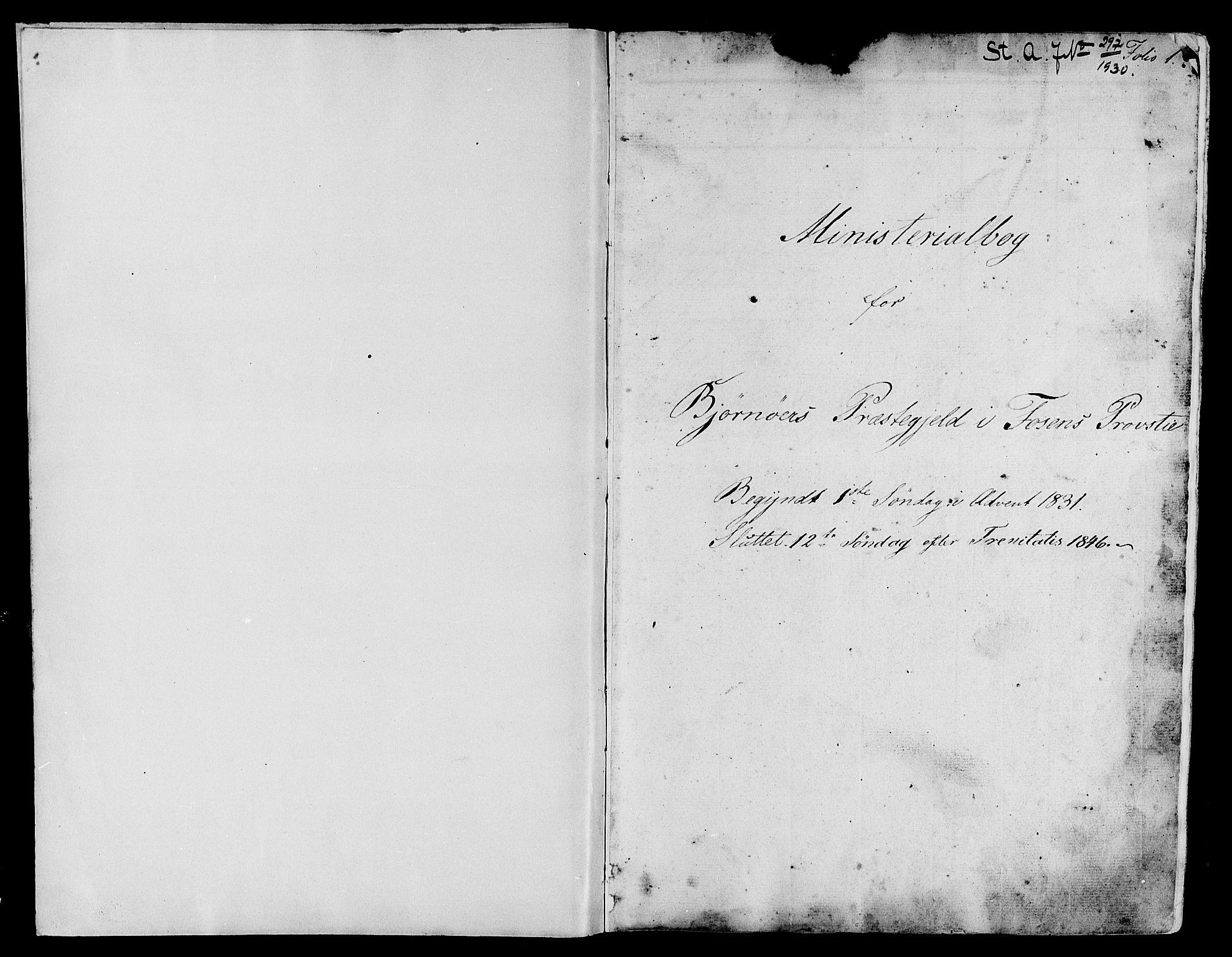 SAT, Ministerialprotokoller, klokkerbøker og fødselsregistre - Sør-Trøndelag, 657/L0703: Ministerialbok nr. 657A04, 1831-1846, s. 1