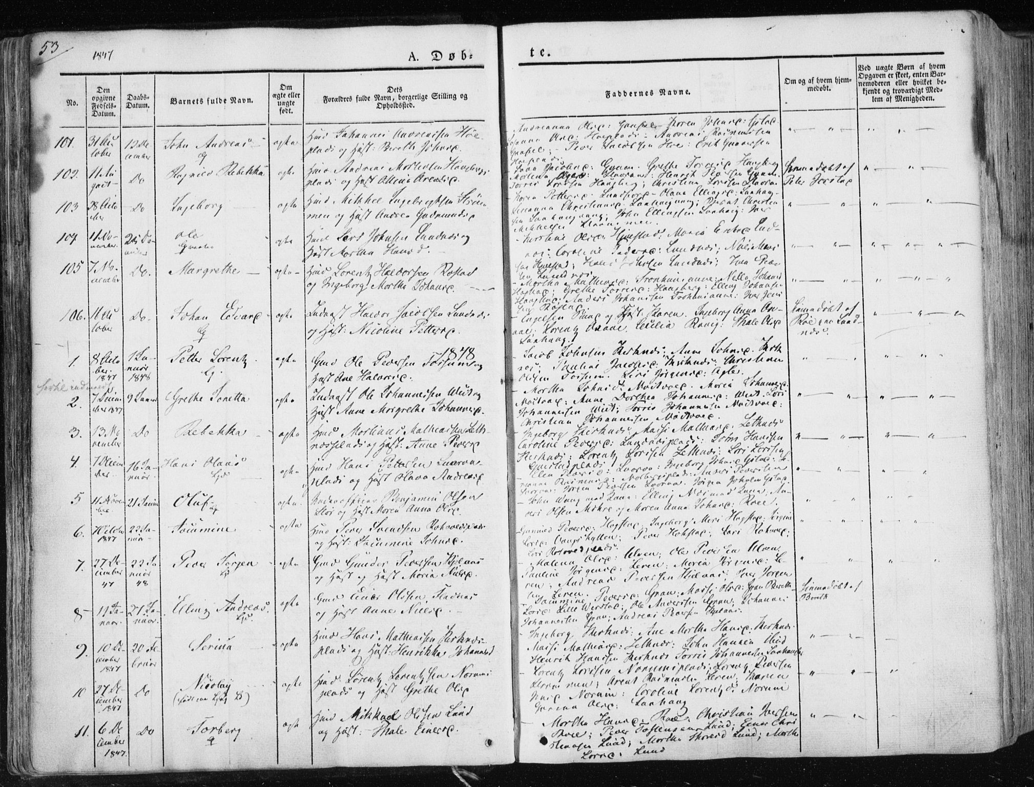 SAT, Ministerialprotokoller, klokkerbøker og fødselsregistre - Nord-Trøndelag, 730/L0280: Ministerialbok nr. 730A07 /1, 1840-1854, s. 53