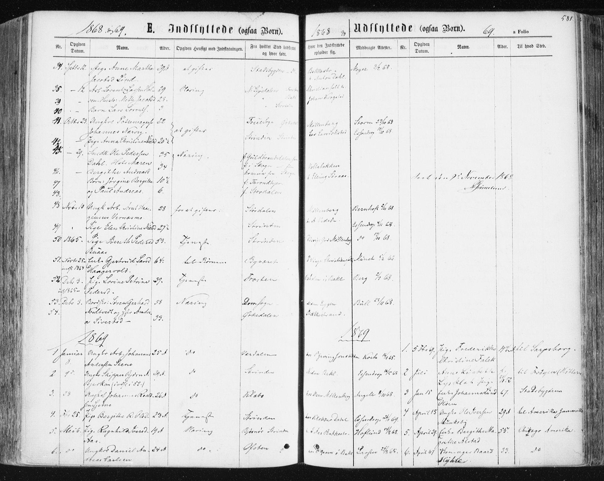 SAT, Ministerialprotokoller, klokkerbøker og fødselsregistre - Sør-Trøndelag, 604/L0186: Ministerialbok nr. 604A07, 1866-1877, s. 581