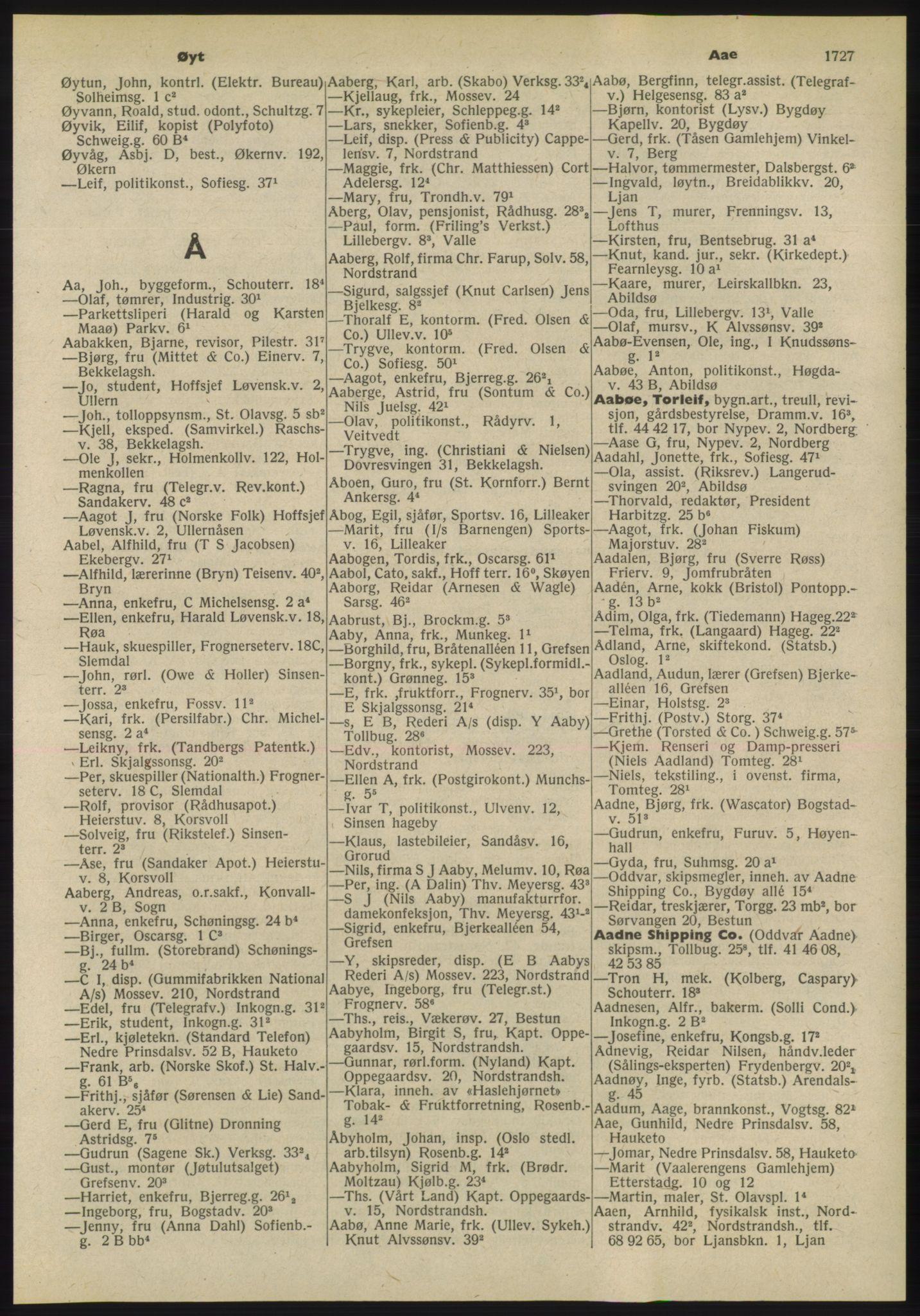 RA, Oslo adressebok (publikasjon)*, 1955, s. 1727