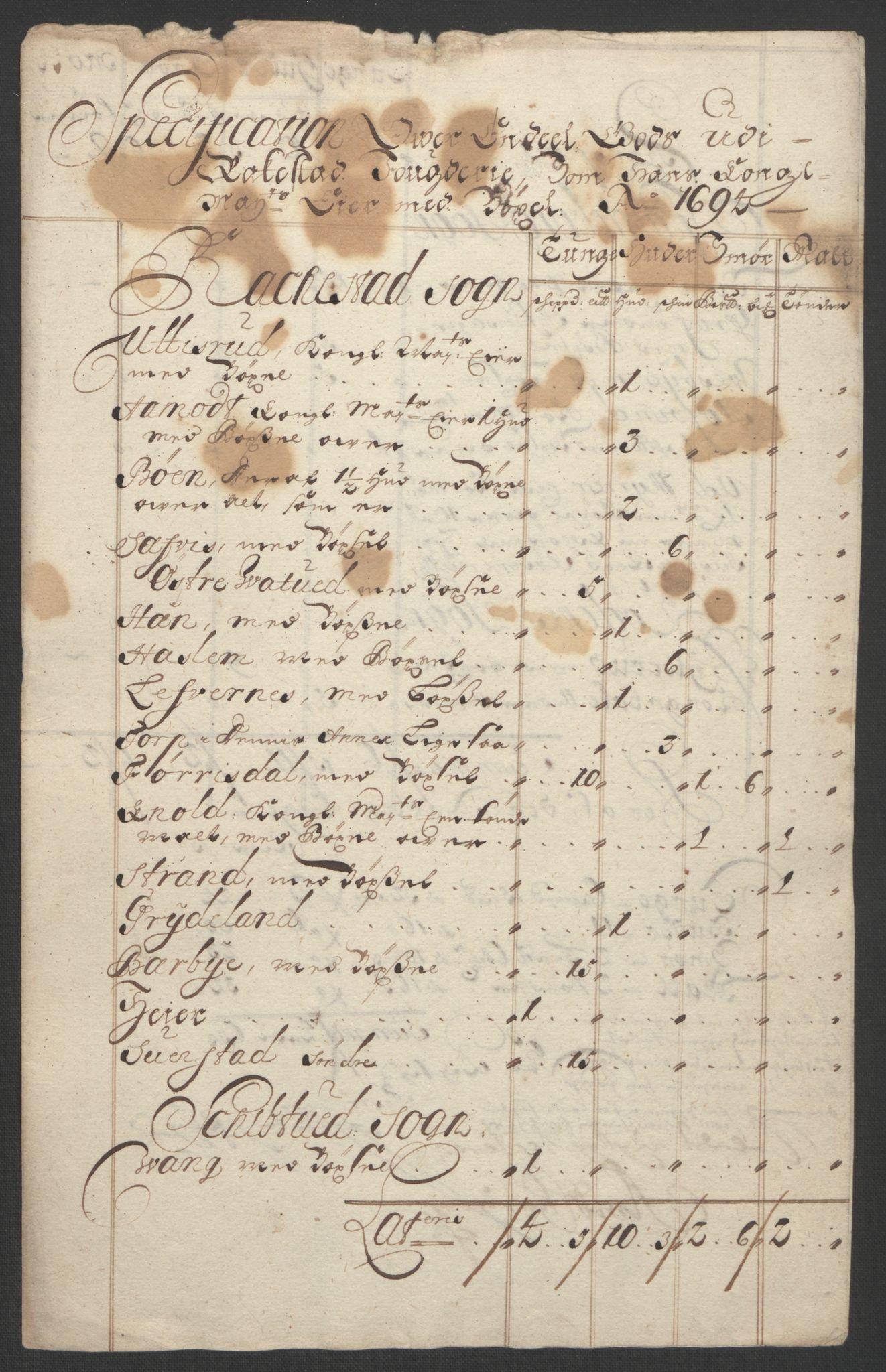 RA, Rentekammeret inntil 1814, Reviderte regnskaper, Fogderegnskap, R07/L0284: Fogderegnskap Rakkestad, Heggen og Frøland, 1694, s. 21