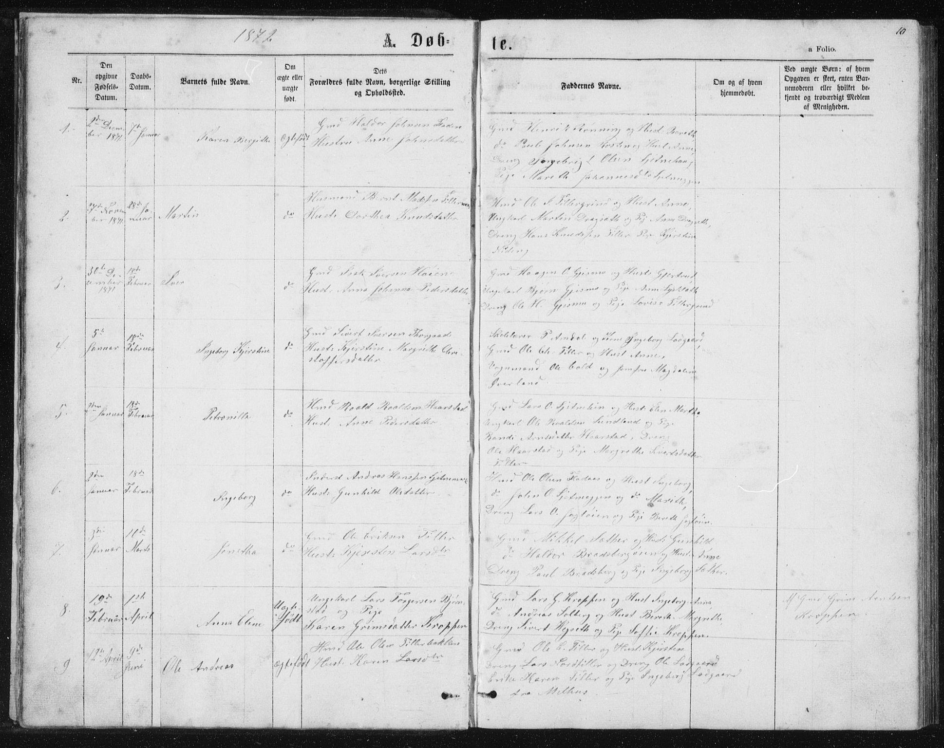 SAT, Ministerialprotokoller, klokkerbøker og fødselsregistre - Sør-Trøndelag, 621/L0459: Klokkerbok nr. 621C02, 1866-1895, s. 10