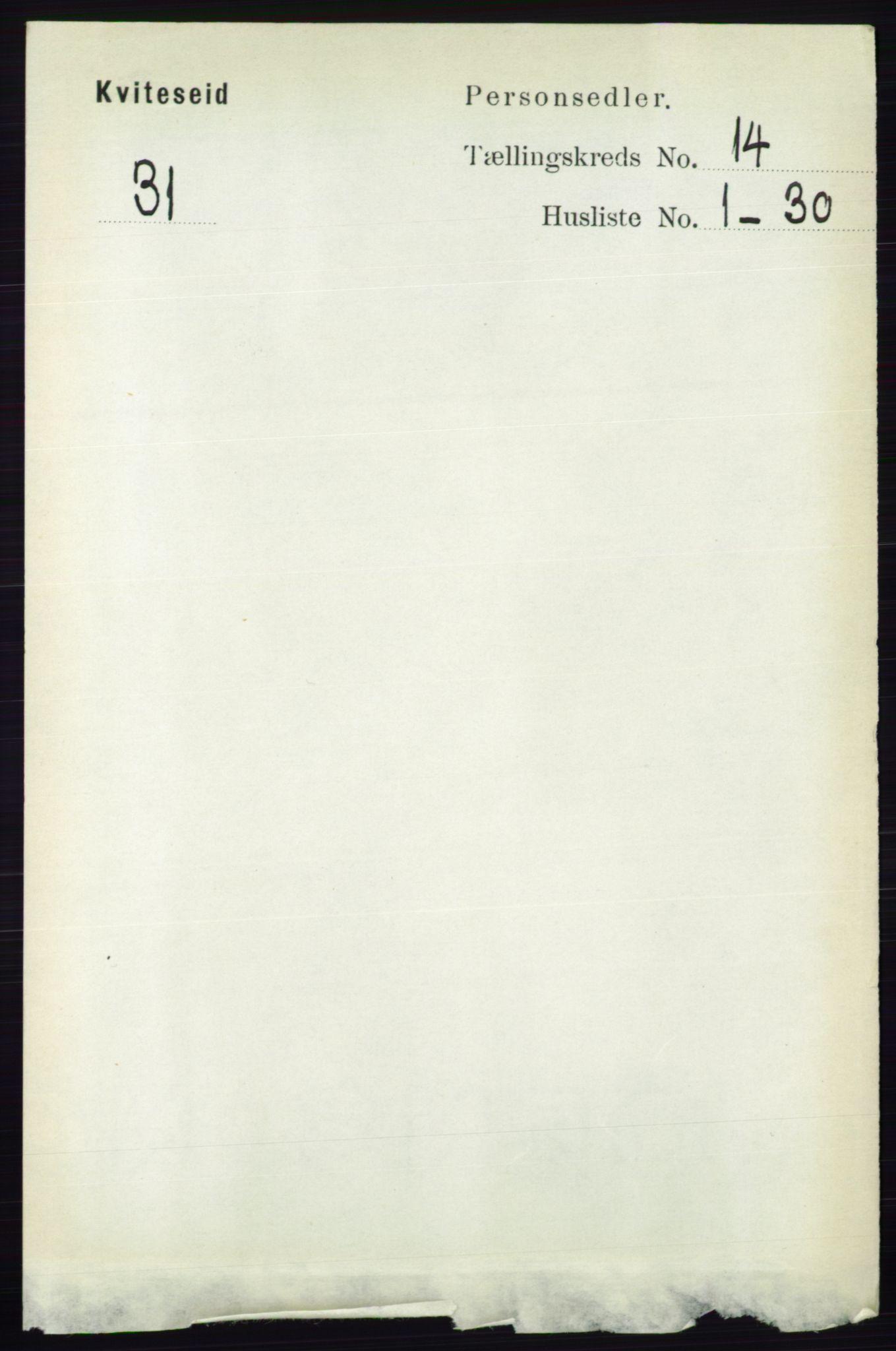 RA, Folketelling 1891 for 0829 Kviteseid herred, 1891, s. 3347