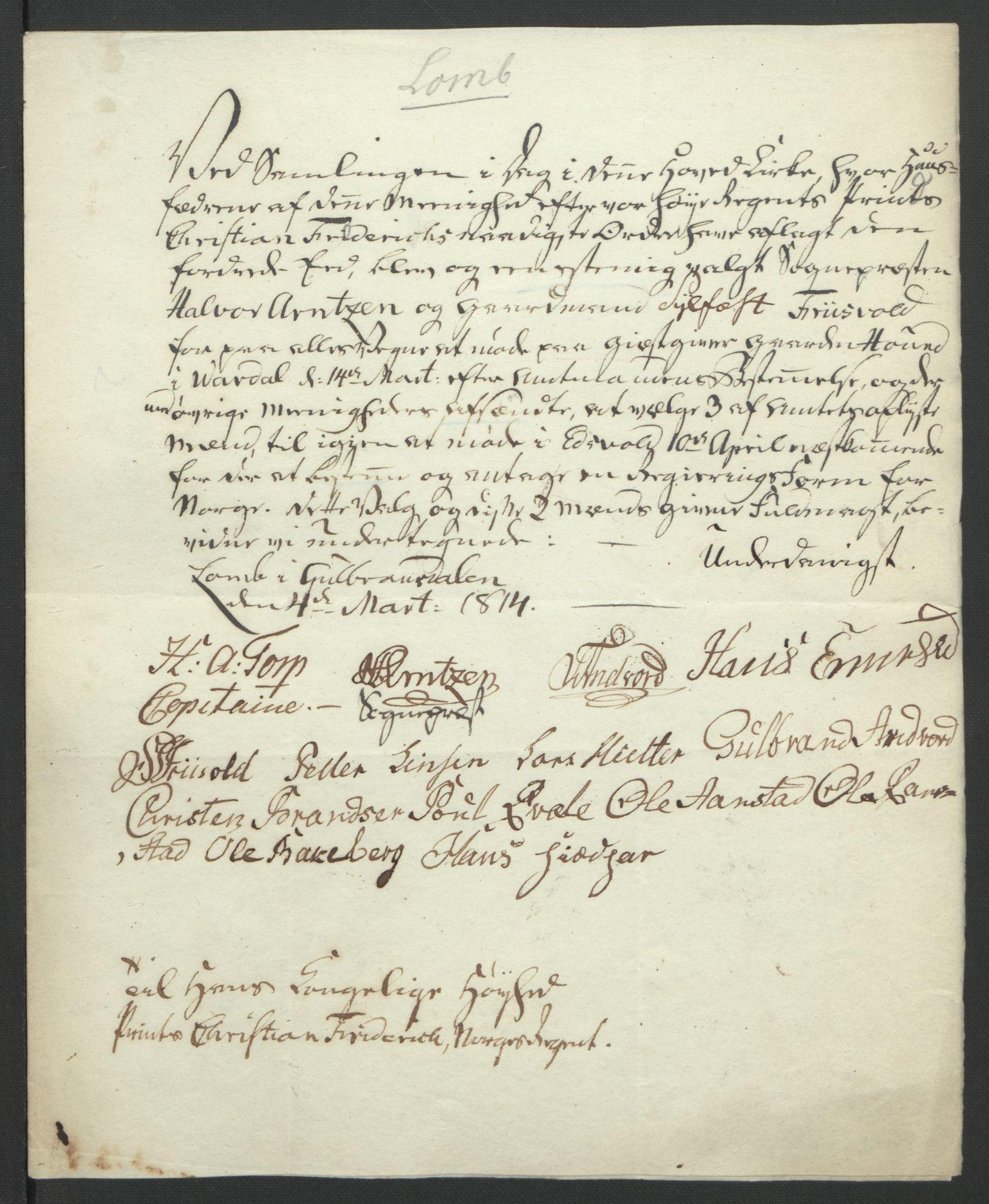 RA, Statsrådssekretariatet, D/Db/L0007: Fullmakter for Eidsvollsrepresentantene i 1814. , 1814, s. 273