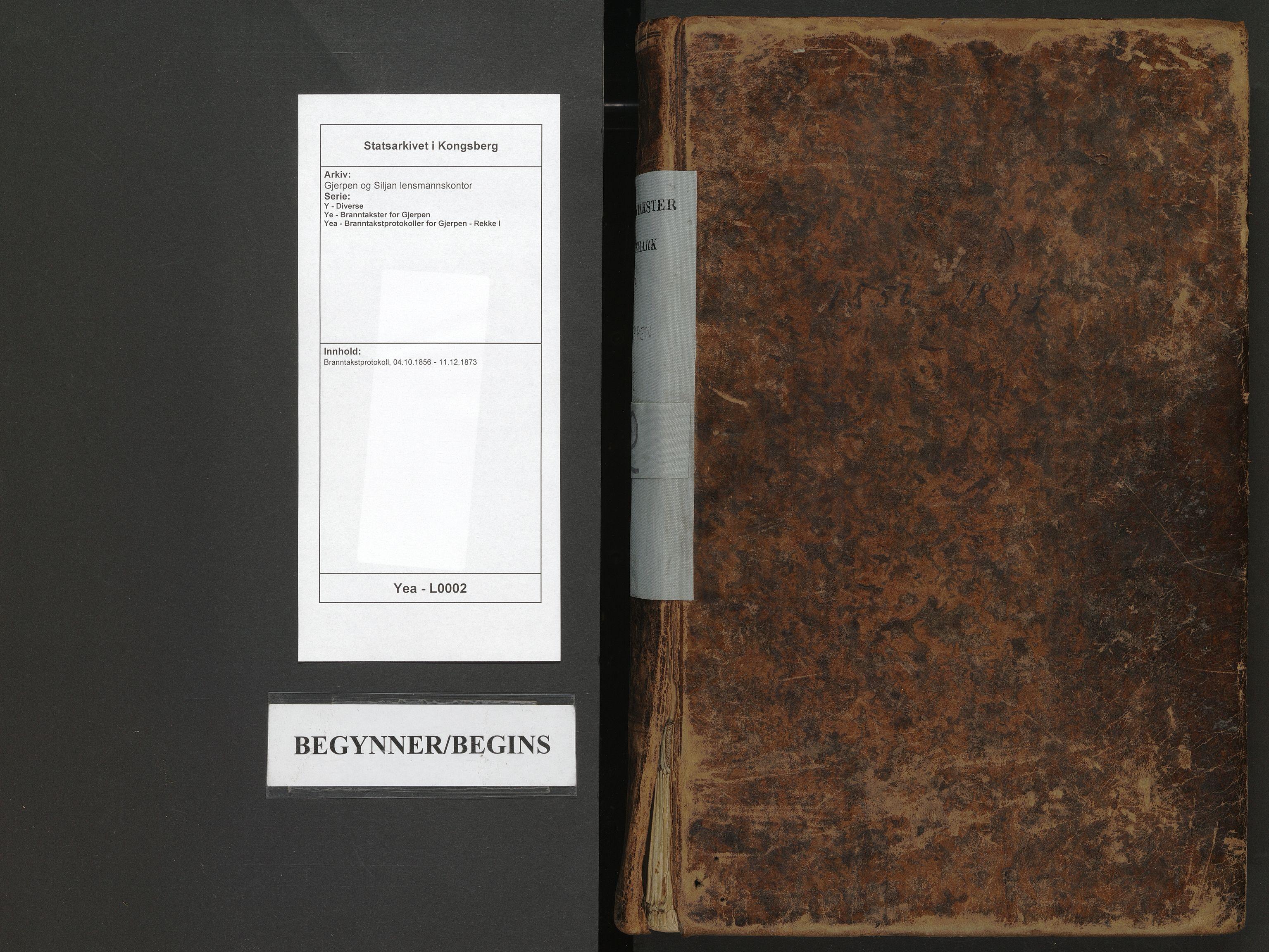 SAKO, Gjerpen og Siljan lensmannskontor, Y/Ye/Yea/L0002: Branntakstprotokoll, 1856-1873