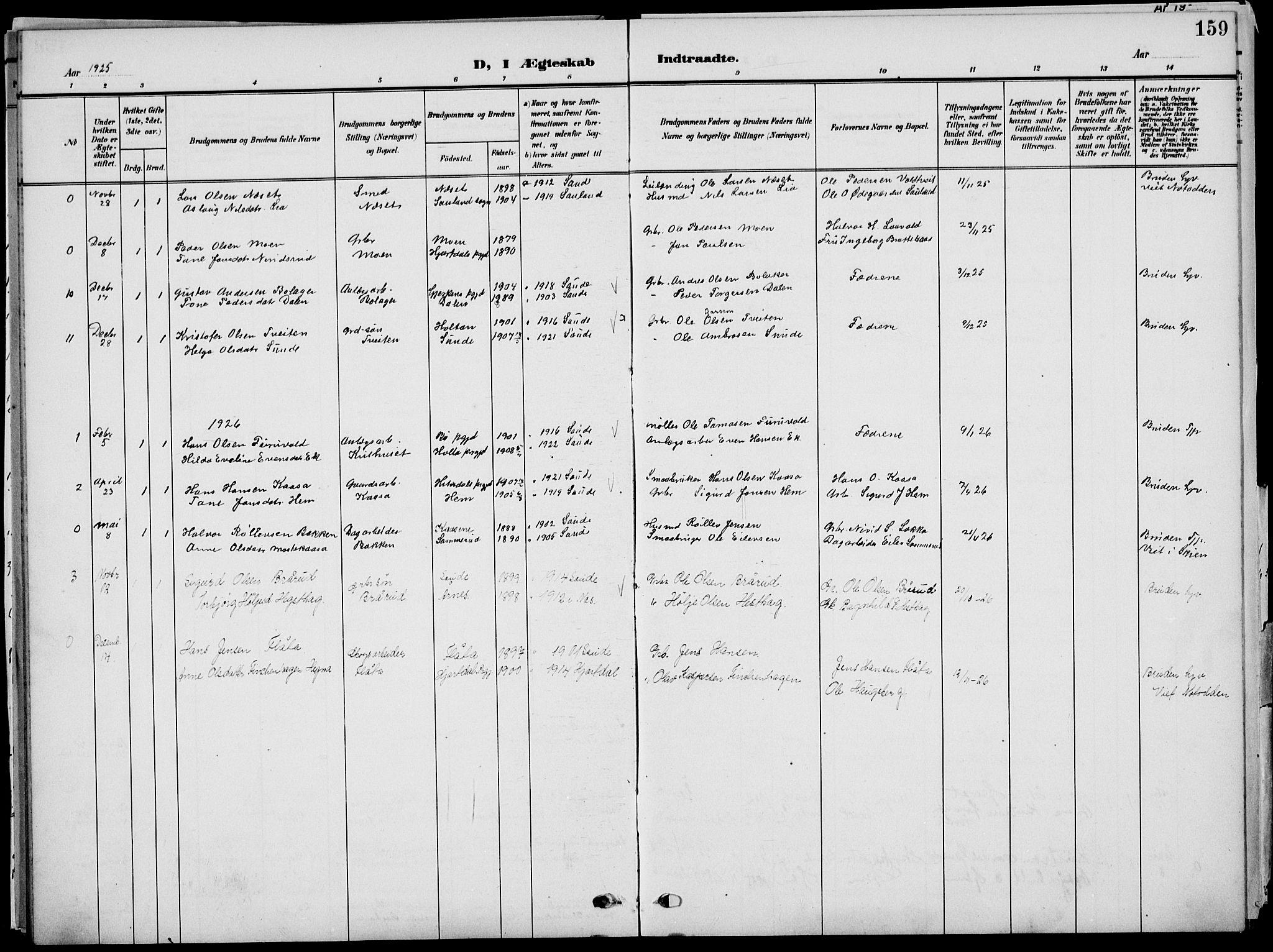 SAKO, Sauherad kirkebøker, G/Ga/L0004a: Klokkerbok nr. I 4, 1906-1934, s. 159