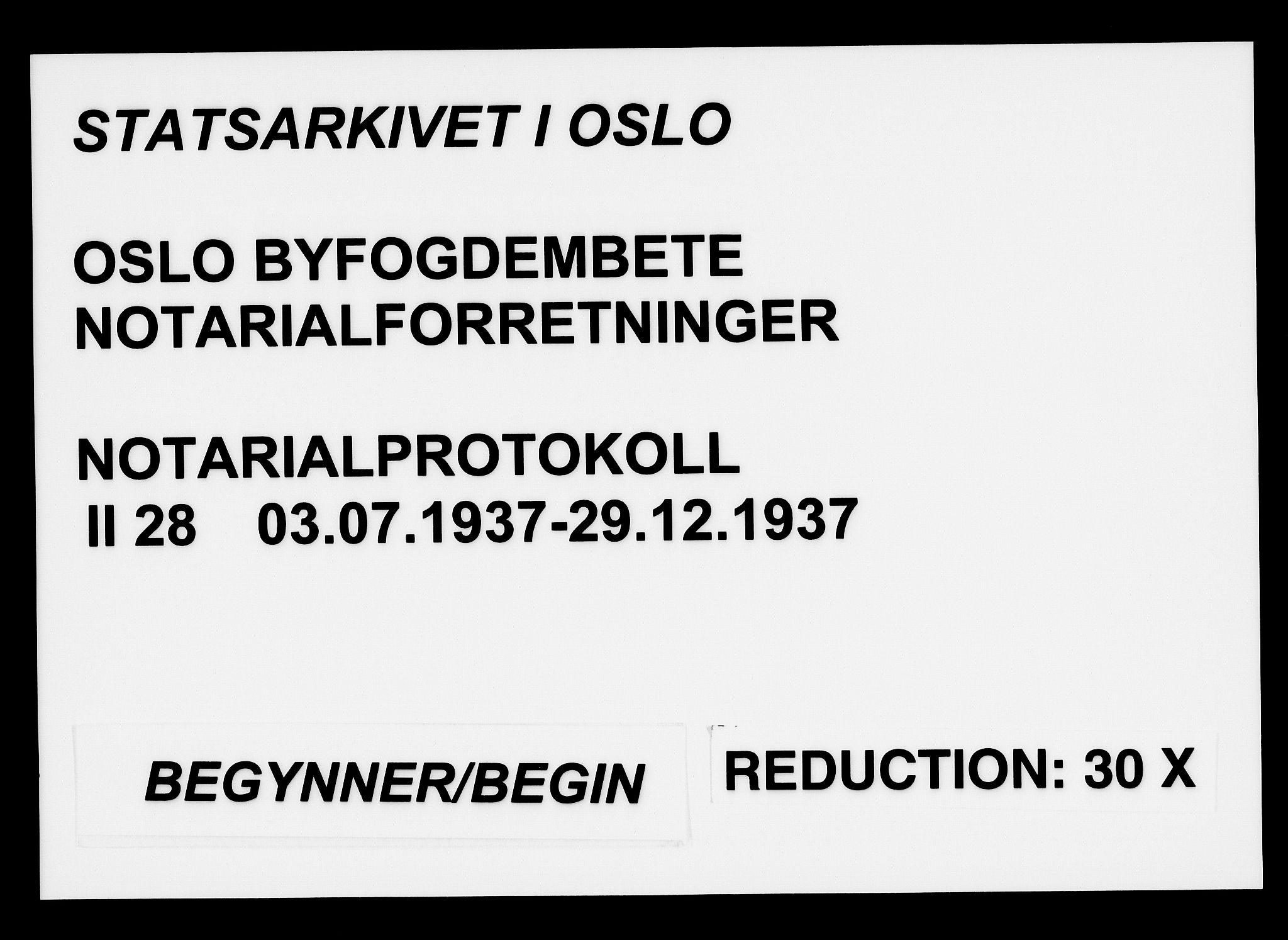 SAO, Oslo byfogd avd. I, L/Lb/Lbb/L0028: Notarialprotokoll, rekke II: Vigsler, 1937, s. upaginert