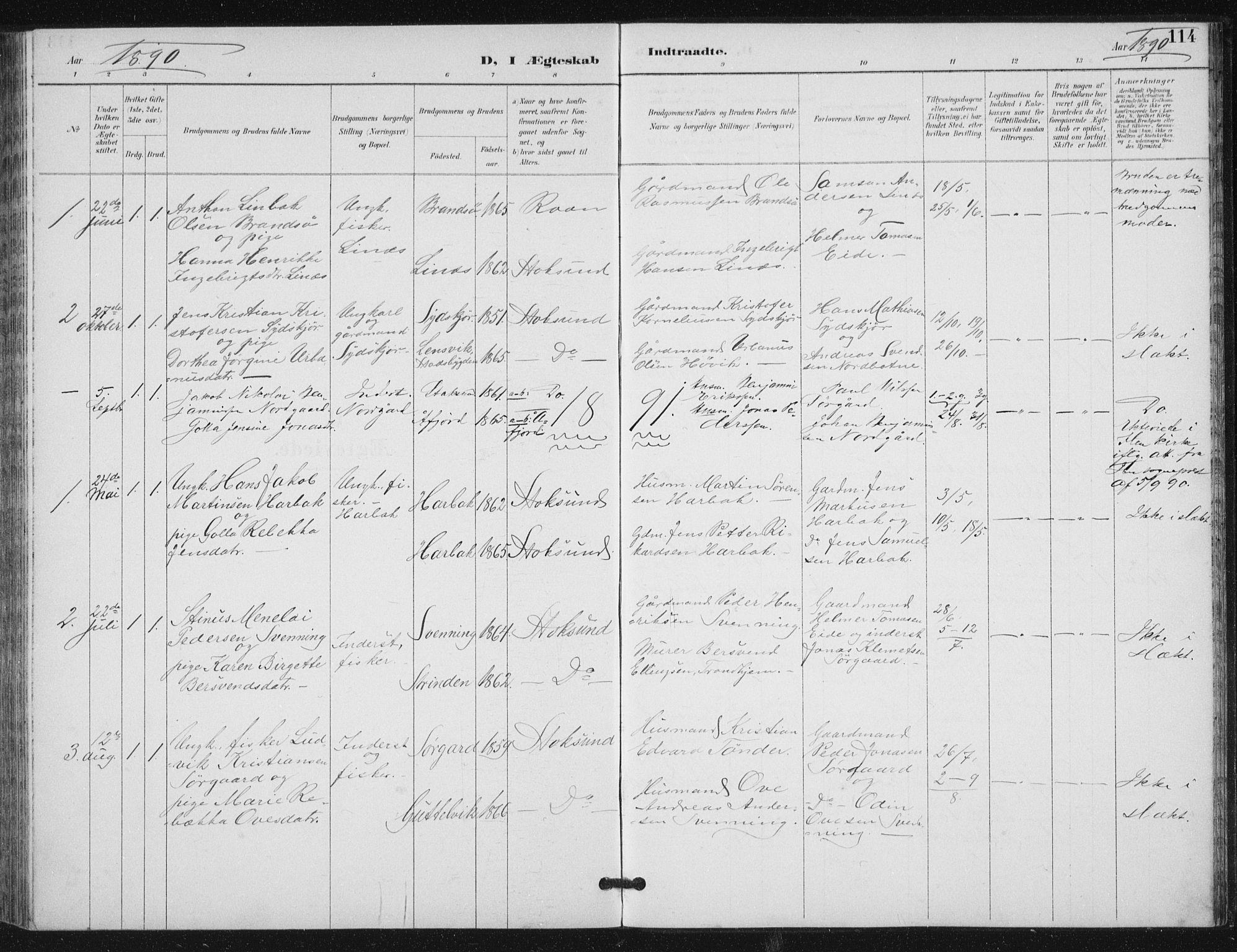 SAT, Ministerialprotokoller, klokkerbøker og fødselsregistre - Sør-Trøndelag, 656/L0698: Klokkerbok nr. 656C04, 1890-1904, s. 114