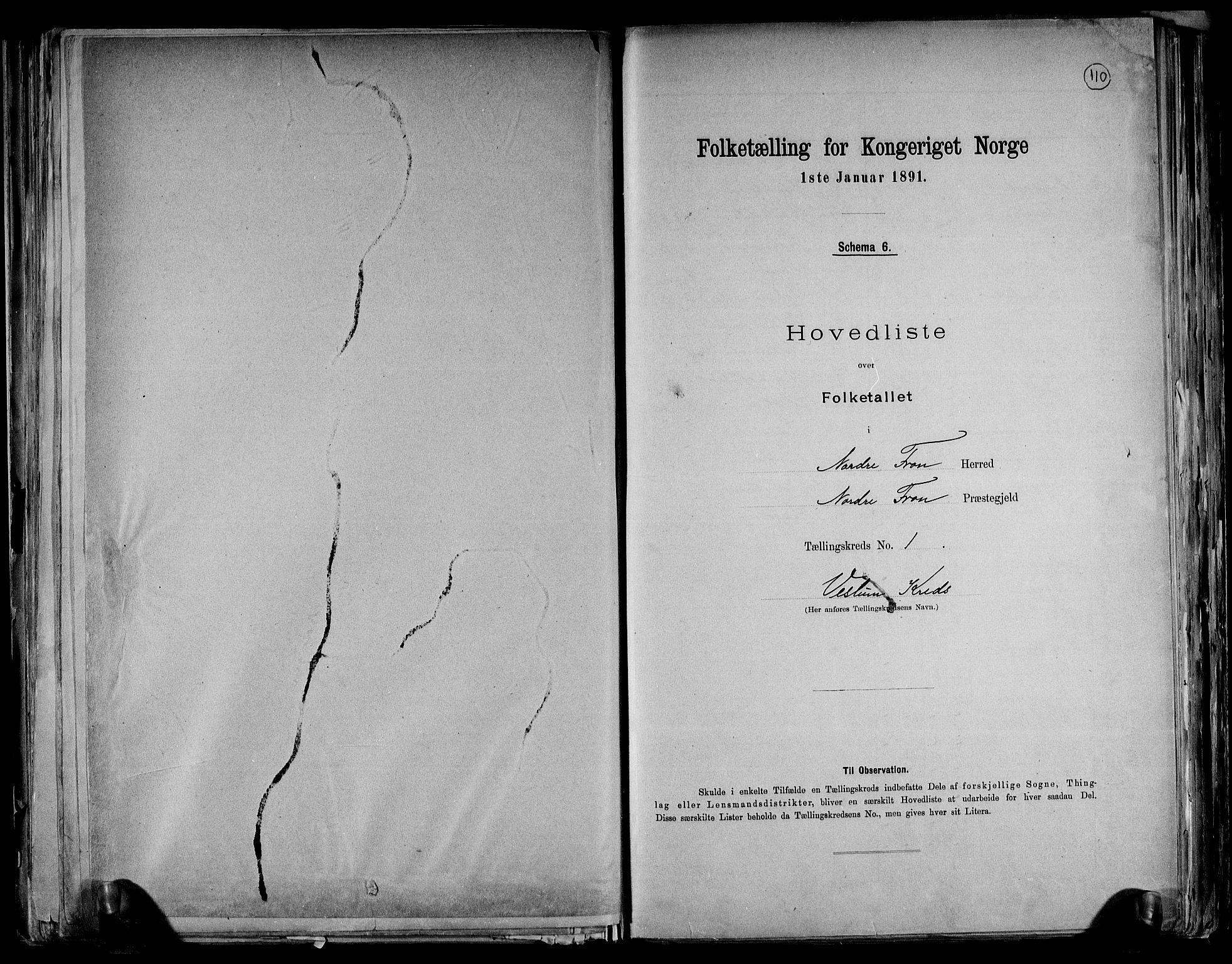 RA, Folketelling 1891 for 0518 Nord-Fron herred, 1891, s. 5