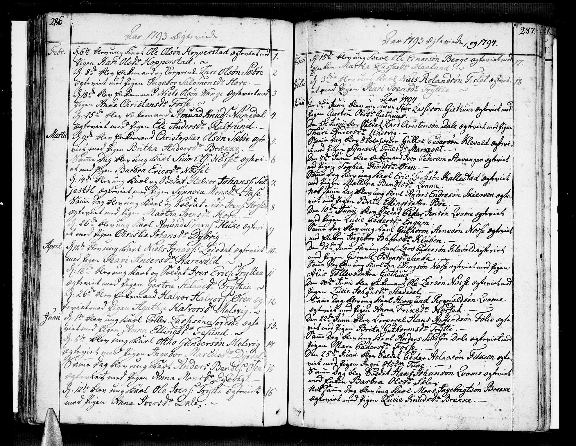 SAB, Vik Sokneprestembete, Ministerialbok nr. A 5, 1787-1820, s. 286-287