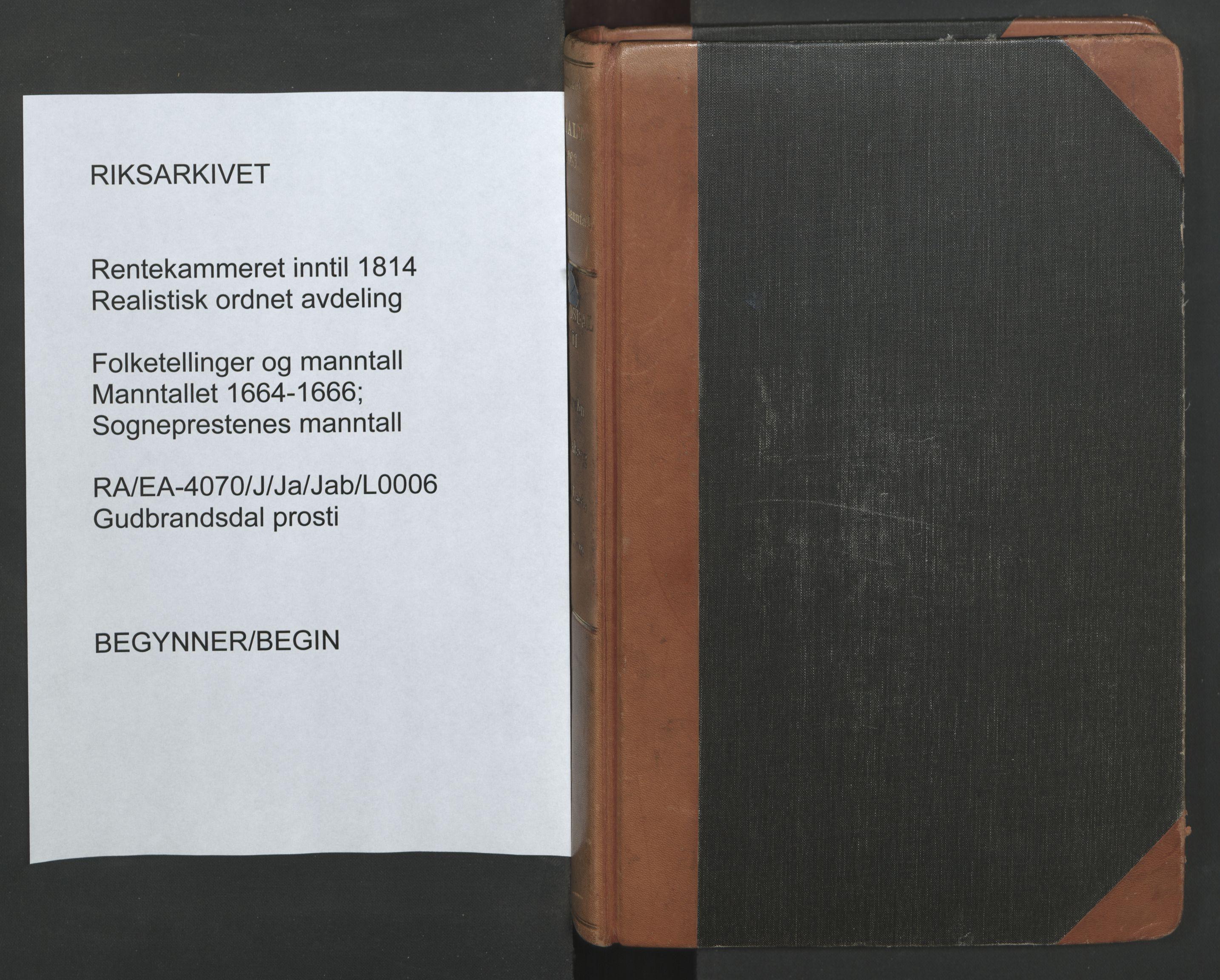 RA, Sogneprestenes manntall 1664-1666, nr. 6: Gudbrandsdal prosti, 1664-1666