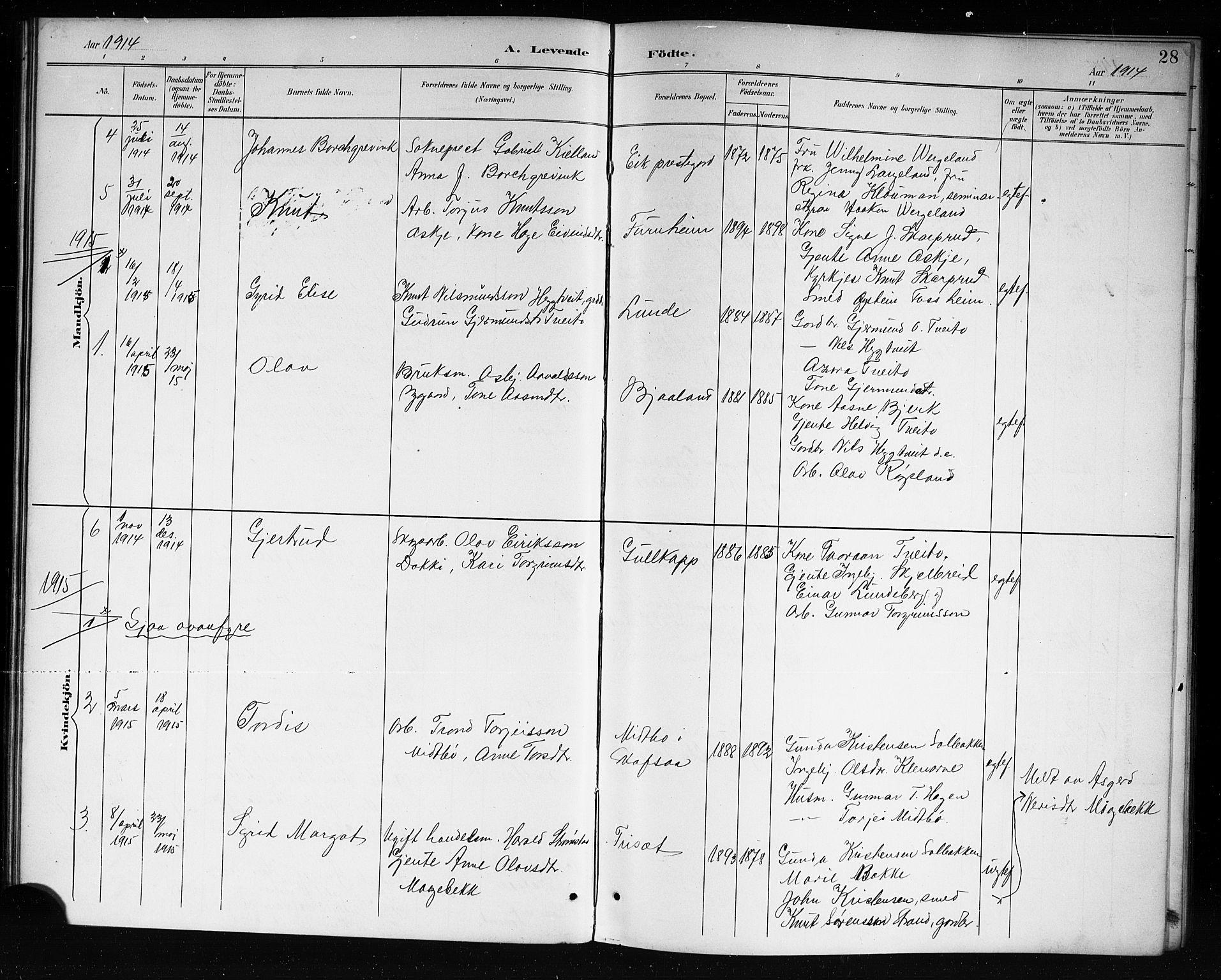 SAKO, Lårdal kirkebøker, G/Ga/L0003: Klokkerbok nr. I 3, 1891-1918, s. 28