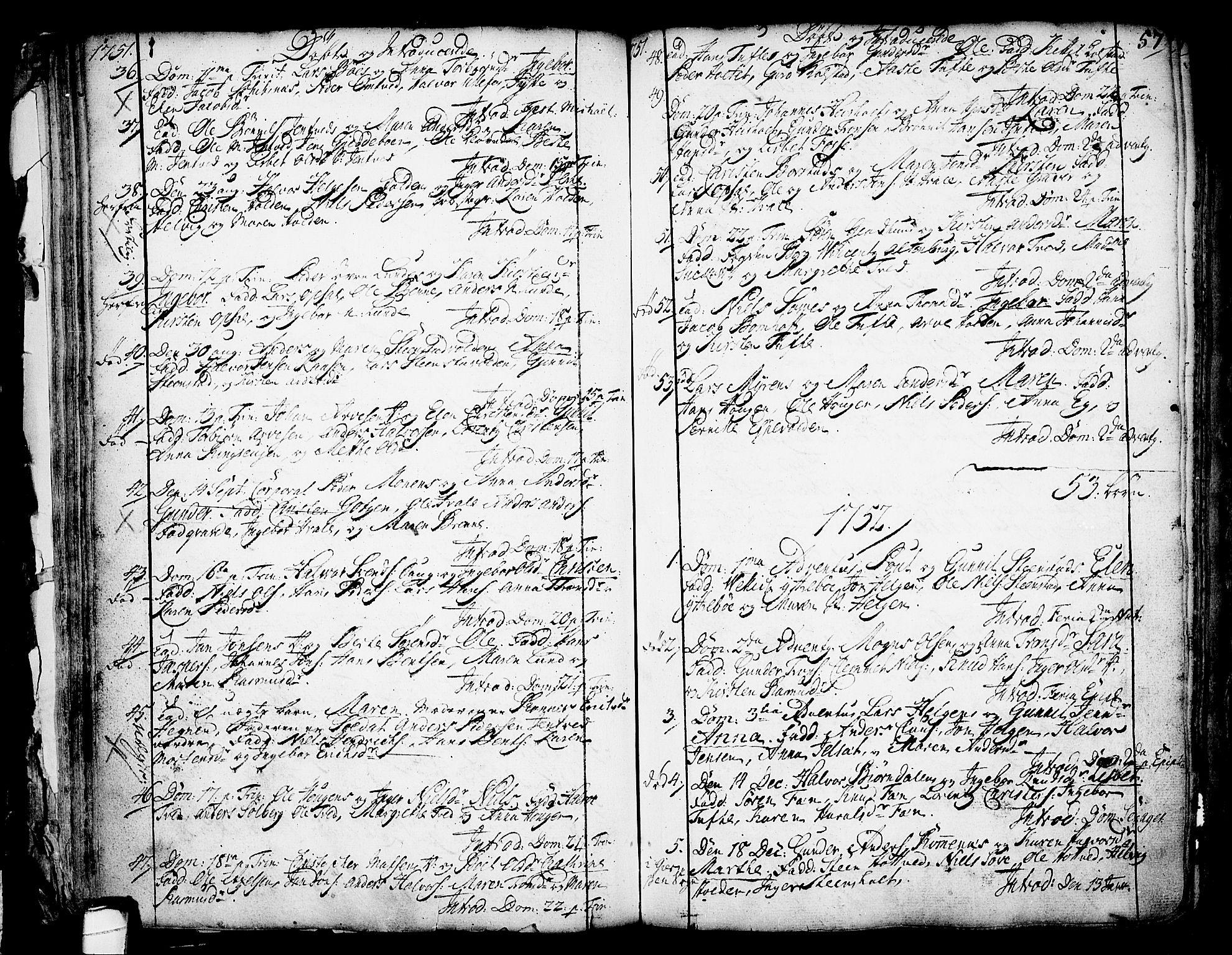 SAKO, Holla kirkebøker, F/Fa/L0001: Ministerialbok nr. 1, 1717-1779, s. 57
