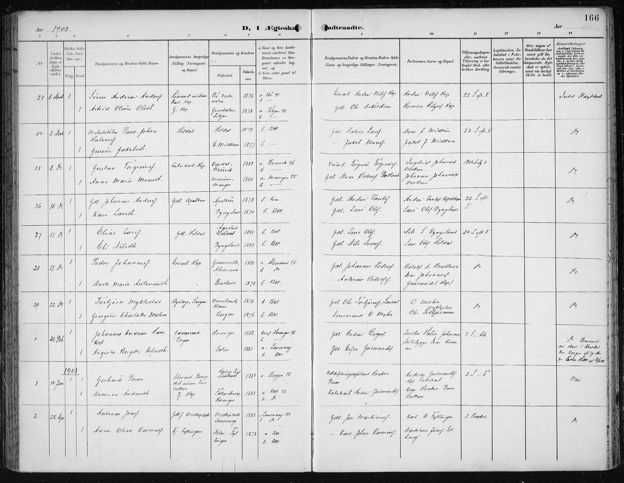 SAB, Fana Sokneprestembete, H/Haa/Haai/L0003: Ministerialbok nr. I 3, 1900-1912, s. 166