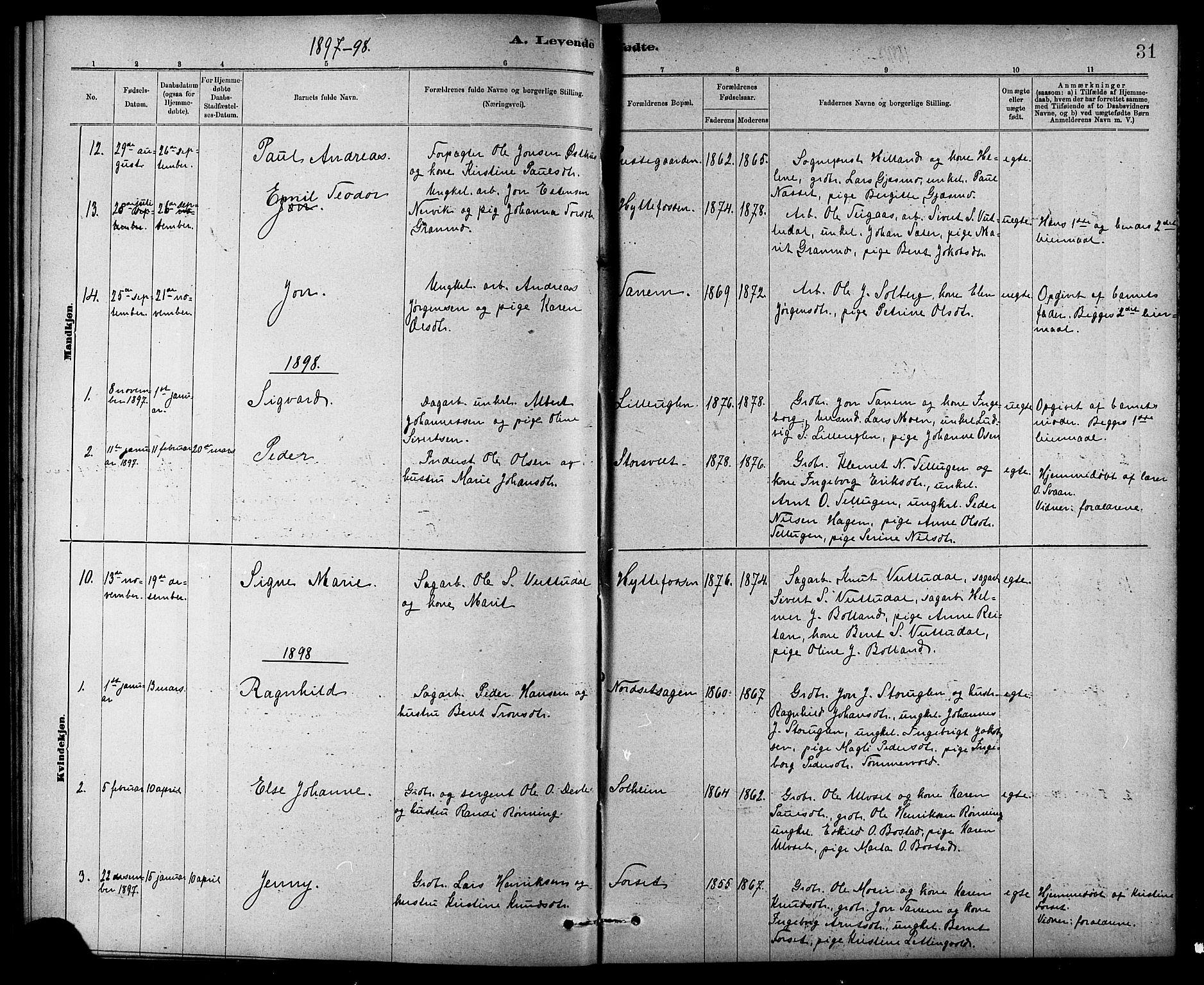 SAT, Ministerialprotokoller, klokkerbøker og fødselsregistre - Sør-Trøndelag, 618/L0452: Klokkerbok nr. 618C03, 1884-1906, s. 31