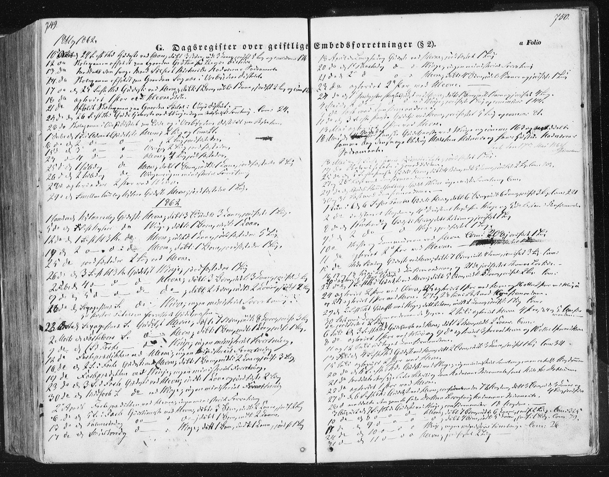SAT, Ministerialprotokoller, klokkerbøker og fødselsregistre - Sør-Trøndelag, 630/L0494: Ministerialbok nr. 630A07, 1852-1868, s. 749-750