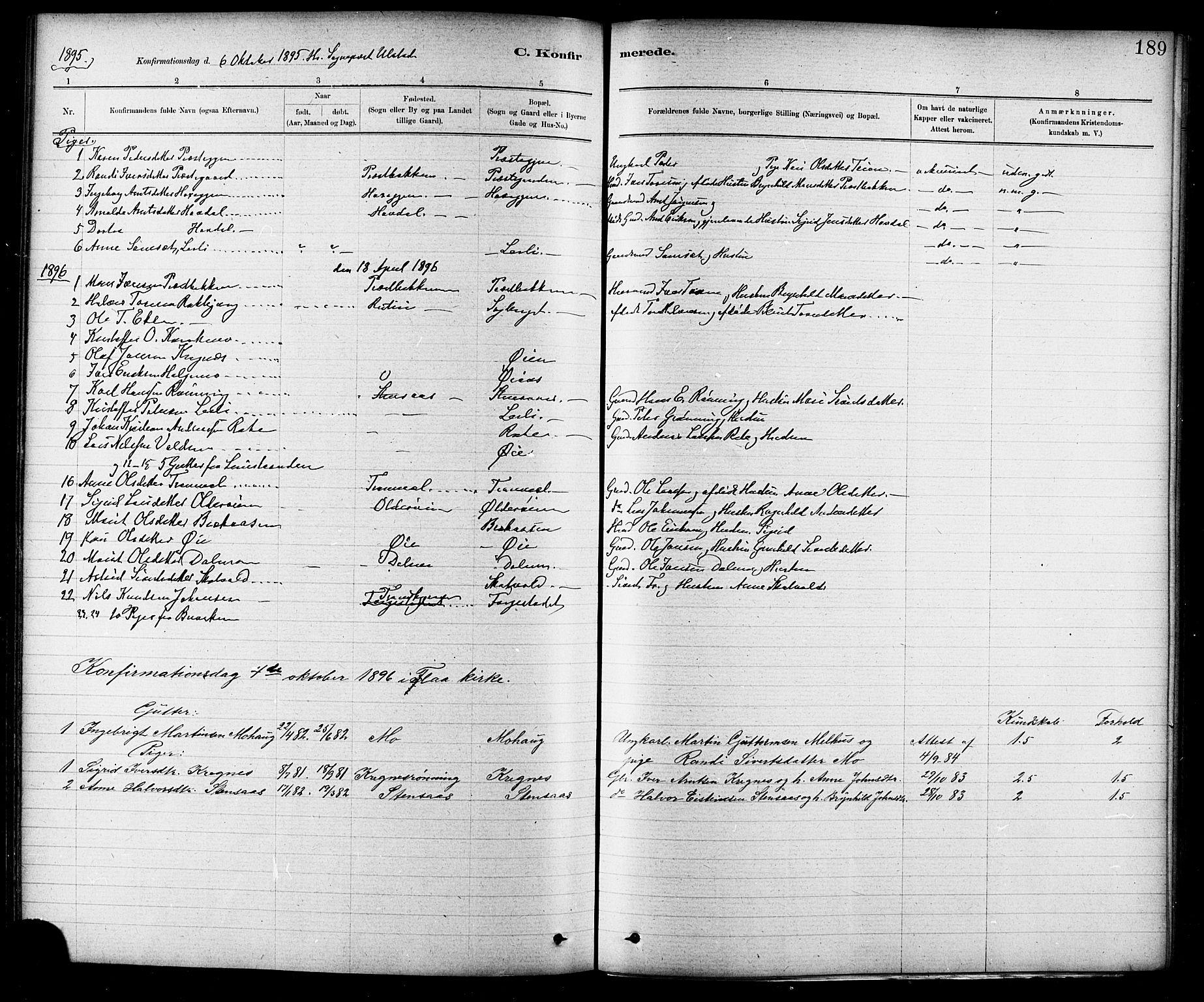 SAT, Ministerialprotokoller, klokkerbøker og fødselsregistre - Sør-Trøndelag, 691/L1094: Klokkerbok nr. 691C05, 1879-1911, s. 189