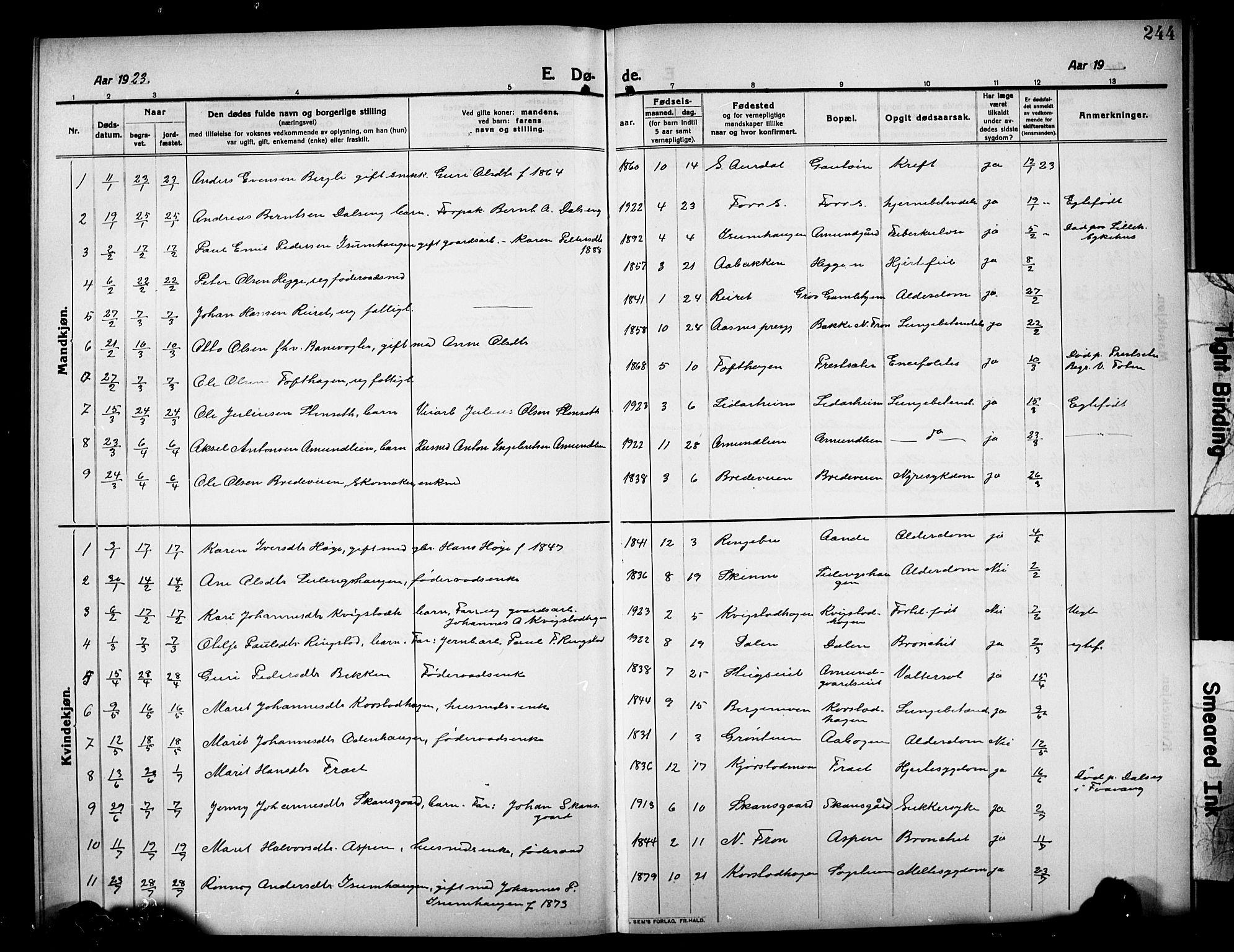 SAH, Sør-Fron prestekontor, H/Ha/Hab/L0005: Klokkerbok nr. 5, 1912-1930, s. 244