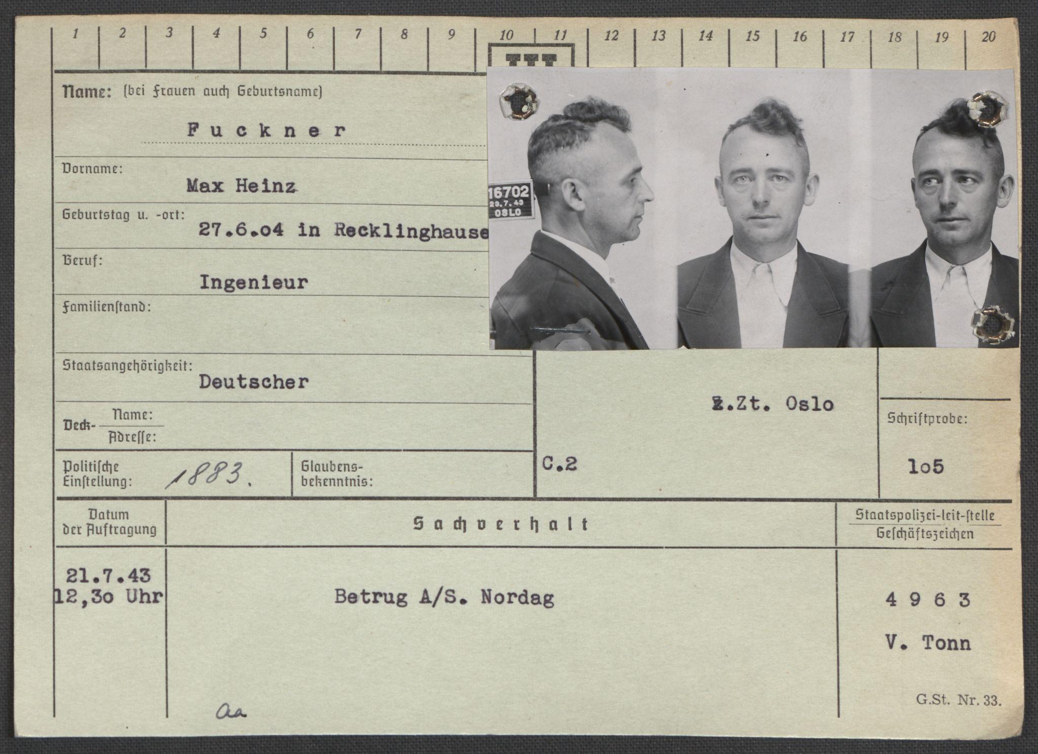 RA, Befehlshaber der Sicherheitspolizei und des SD, E/Ea/Eaa/L0003: Register over norske fanger i Møllergata 19: Eng-Hag, 1940-1945, s. 639