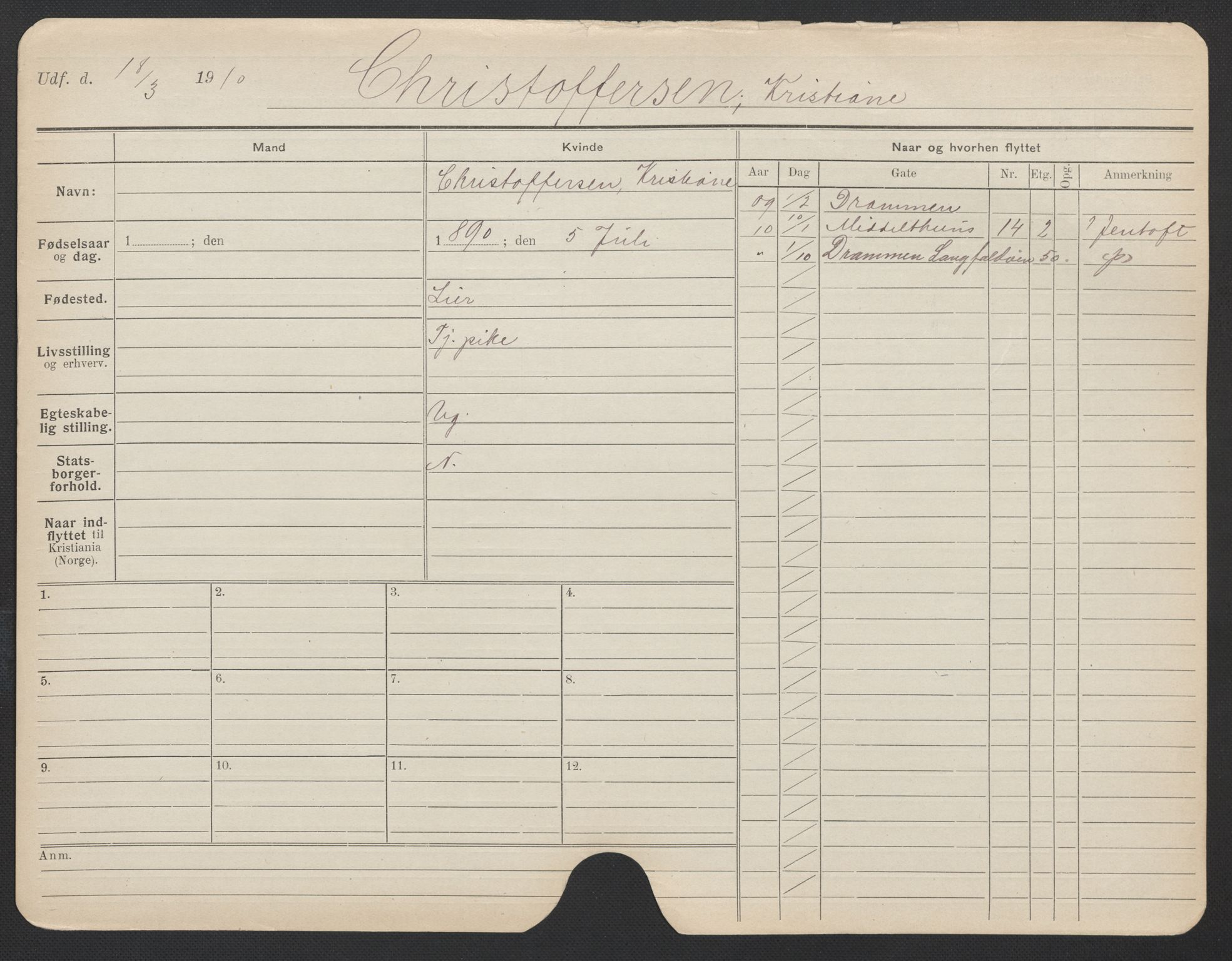 SAO, Oslo folkeregister, Registerkort, F/Fa/Fac/L0019: Kvinner, 1906-1914, s. 526a