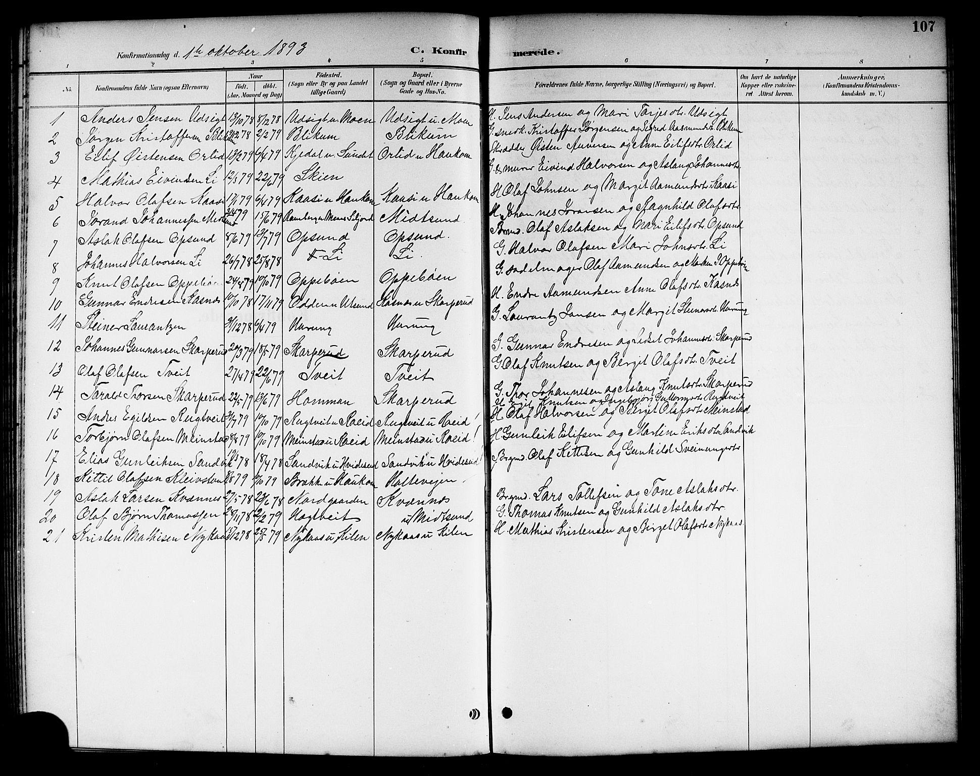 SAKO, Kviteseid kirkebøker, G/Ga/L0002: Klokkerbok nr. I 2, 1893-1918, s. 107