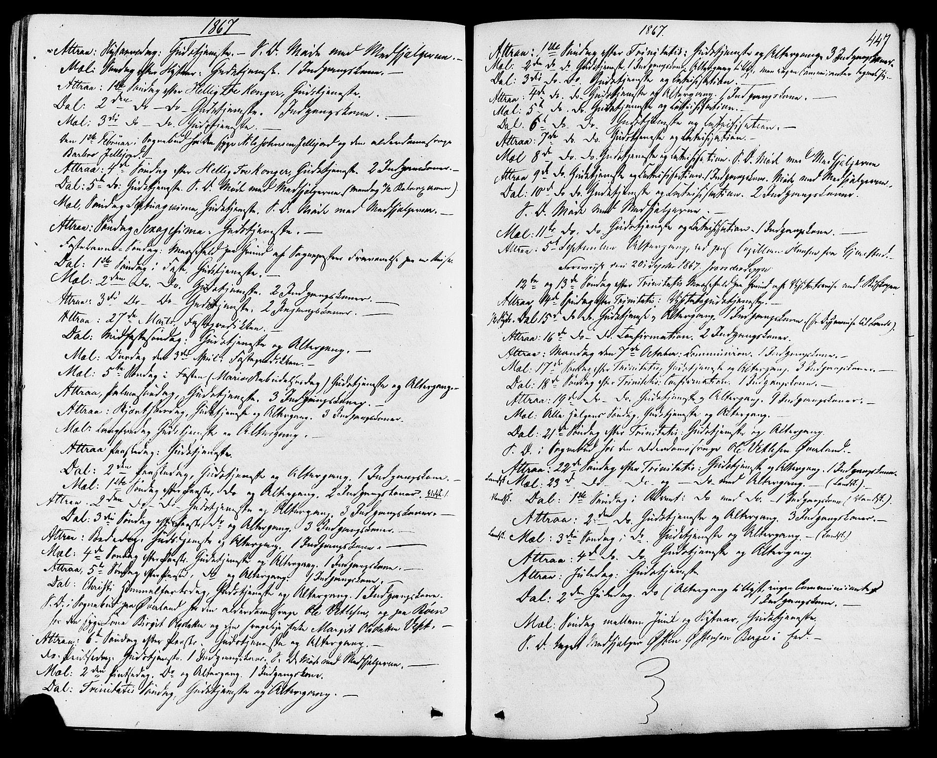 SAKO, Tinn kirkebøker, F/Fa/L0006: Ministerialbok nr. I 6, 1857-1878, s. 447