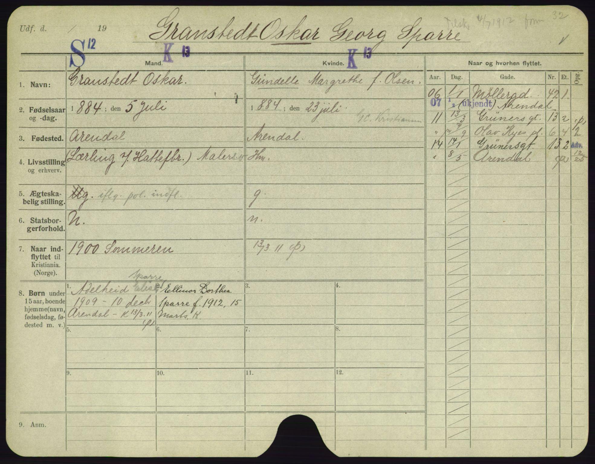 SAO, Oslo folkeregister, Registerkort, F/Fa/Fac/L0003: Menn, 1906-1914, s. 576a