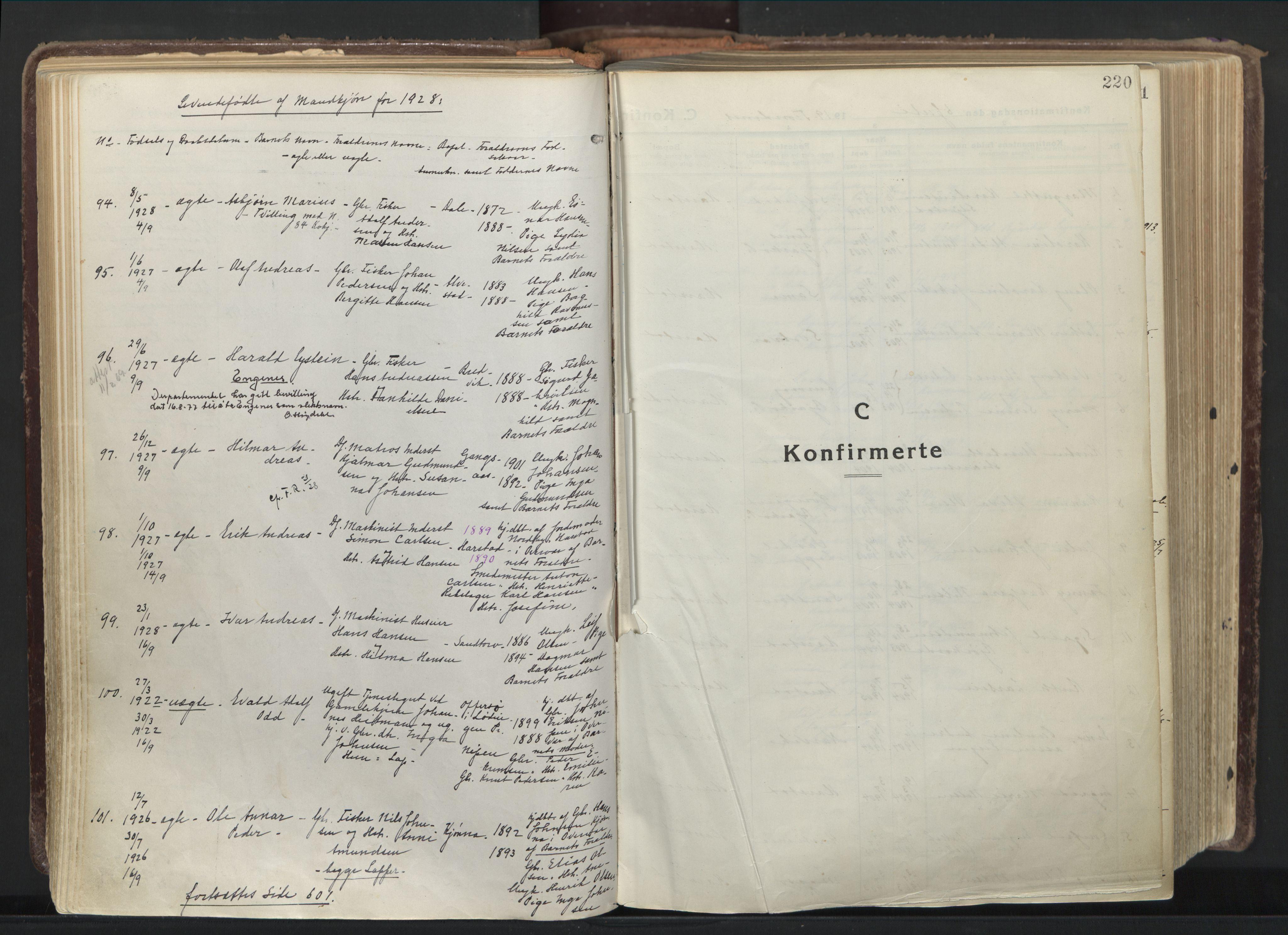 SATØ, Trondenes sokneprestkontor, H/Ha/L0019kirke: Ministerialbok nr. 19, 1919-1928, s. 220