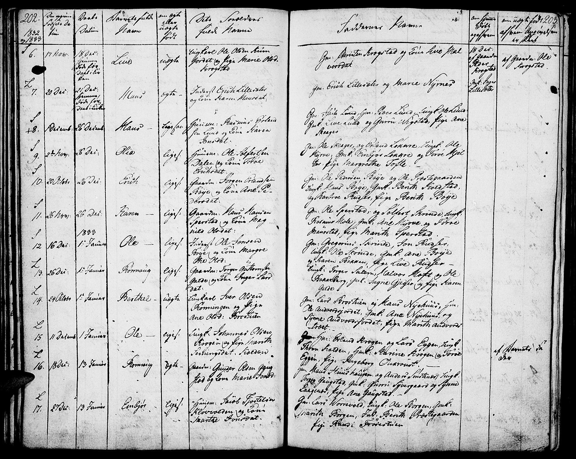 SAH, Lom prestekontor, K/L0005: Ministerialbok nr. 5, 1825-1837, s. 202-203