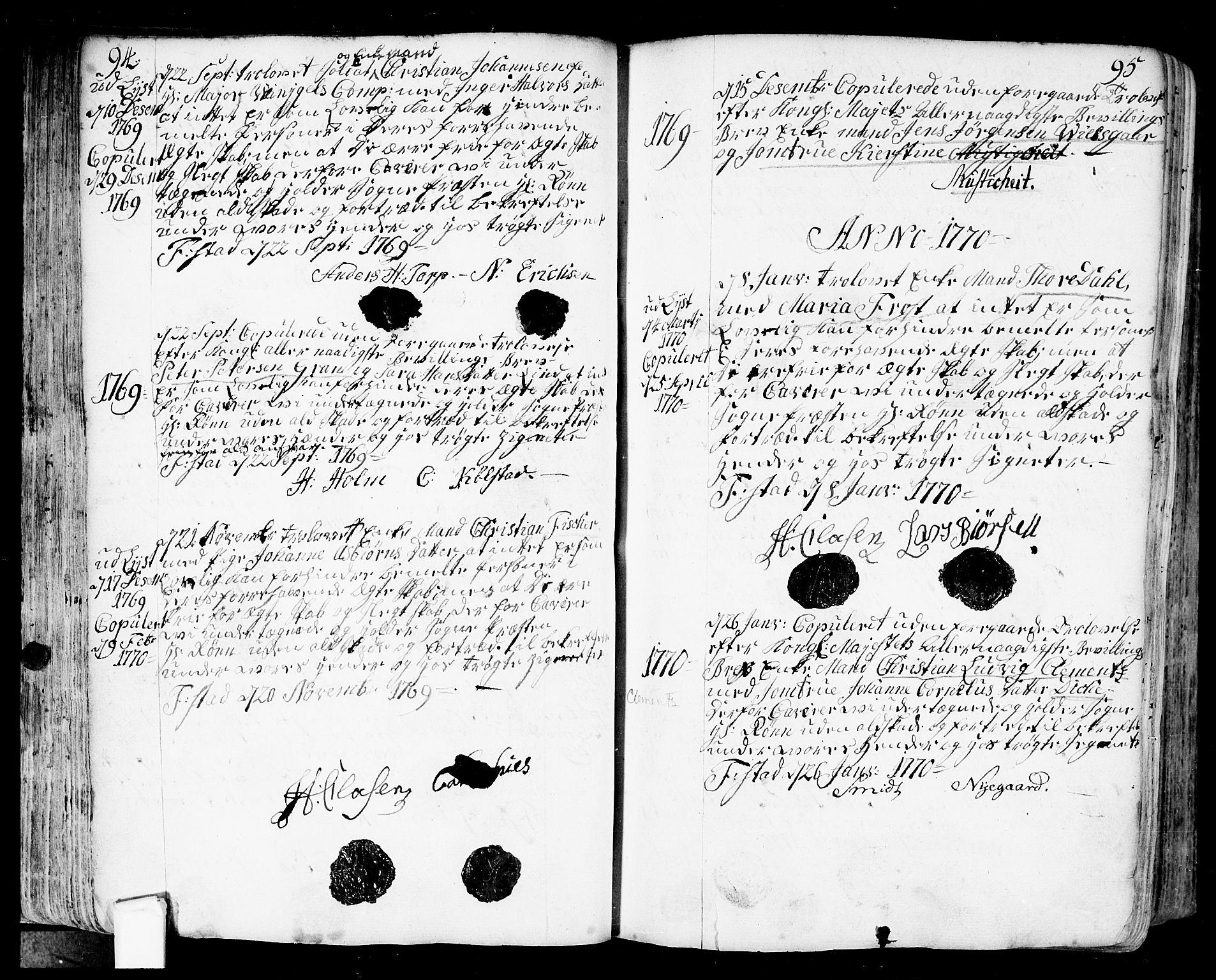 SAO, Fredrikstad prestekontor Kirkebøker, F/Fa/L0002: Ministerialbok nr. 2, 1750-1804, s. 94-95