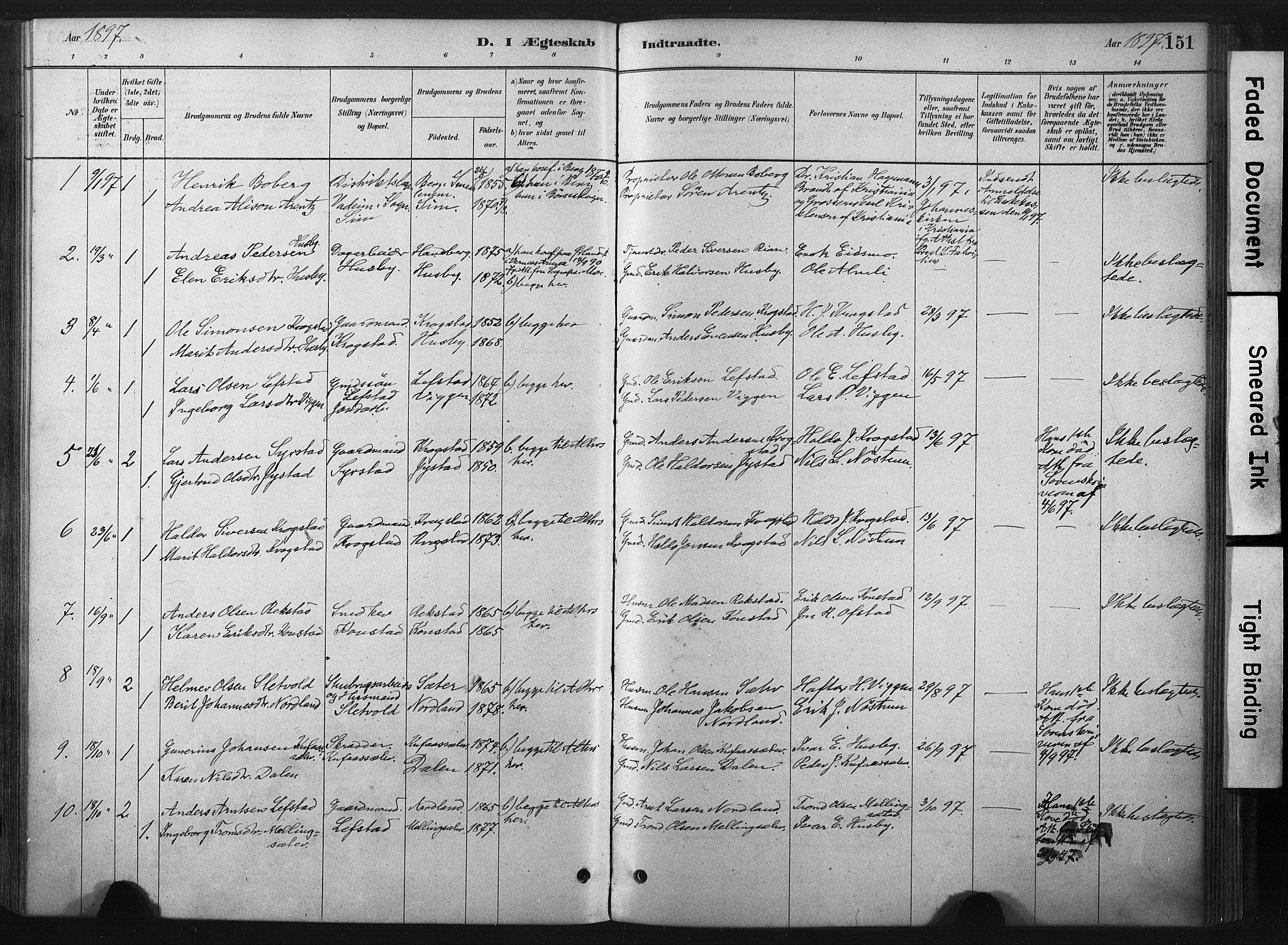 SAT, Ministerialprotokoller, klokkerbøker og fødselsregistre - Sør-Trøndelag, 667/L0795: Ministerialbok nr. 667A03, 1879-1907, s. 151