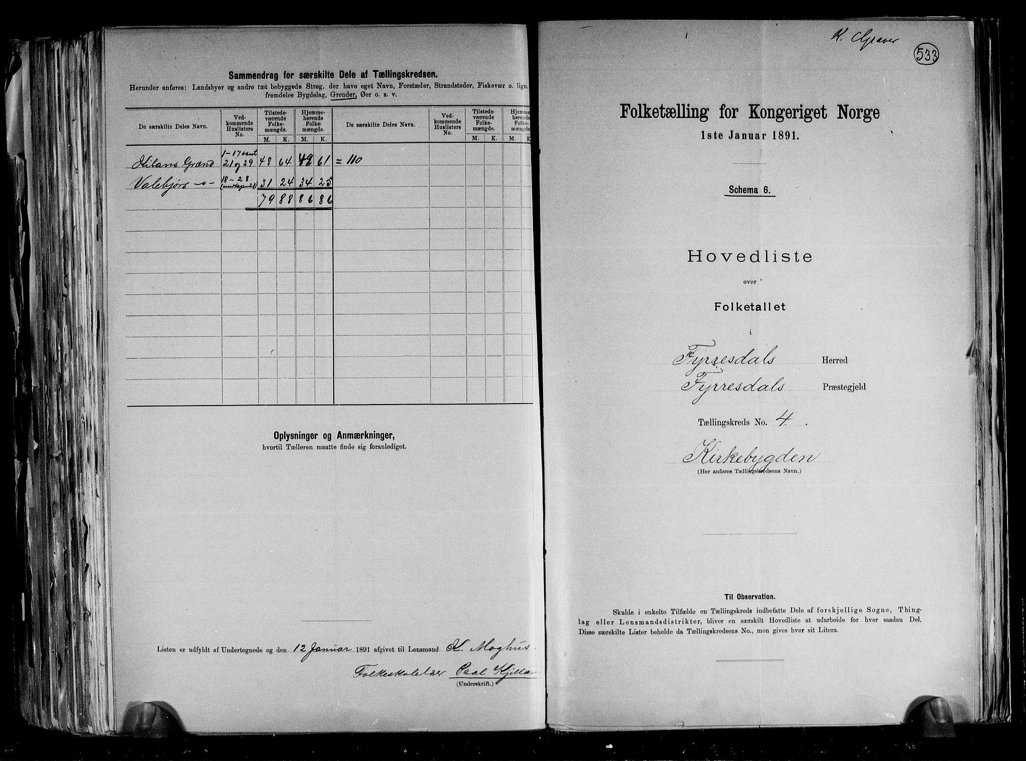 RA, Folketelling 1891 for 0831 Fyresdal herred, 1891, s. 12