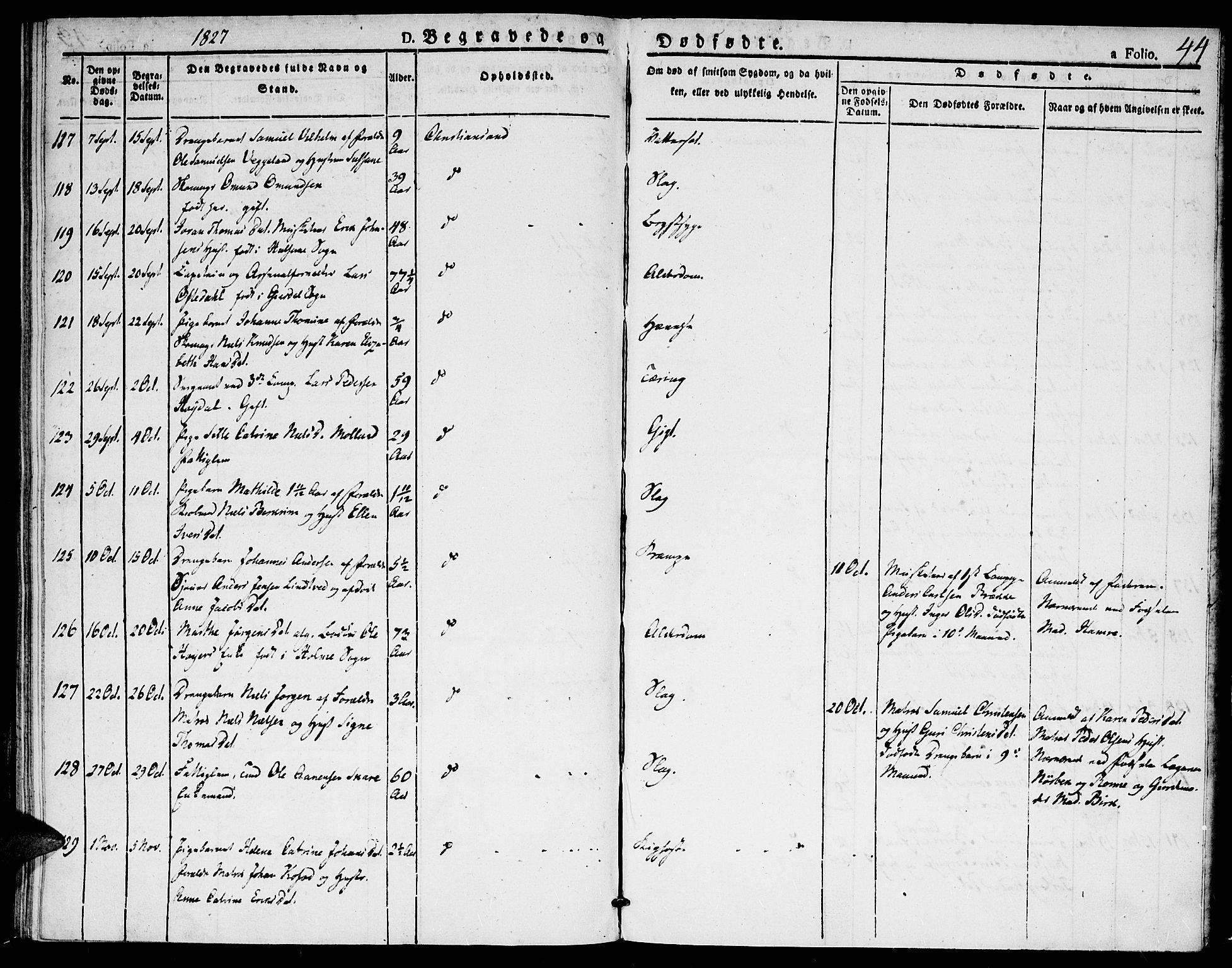 SAK, Kristiansand domprosti, F/Fa/L0010: Ministerialbok nr. A 10, 1824-1827, s. 44