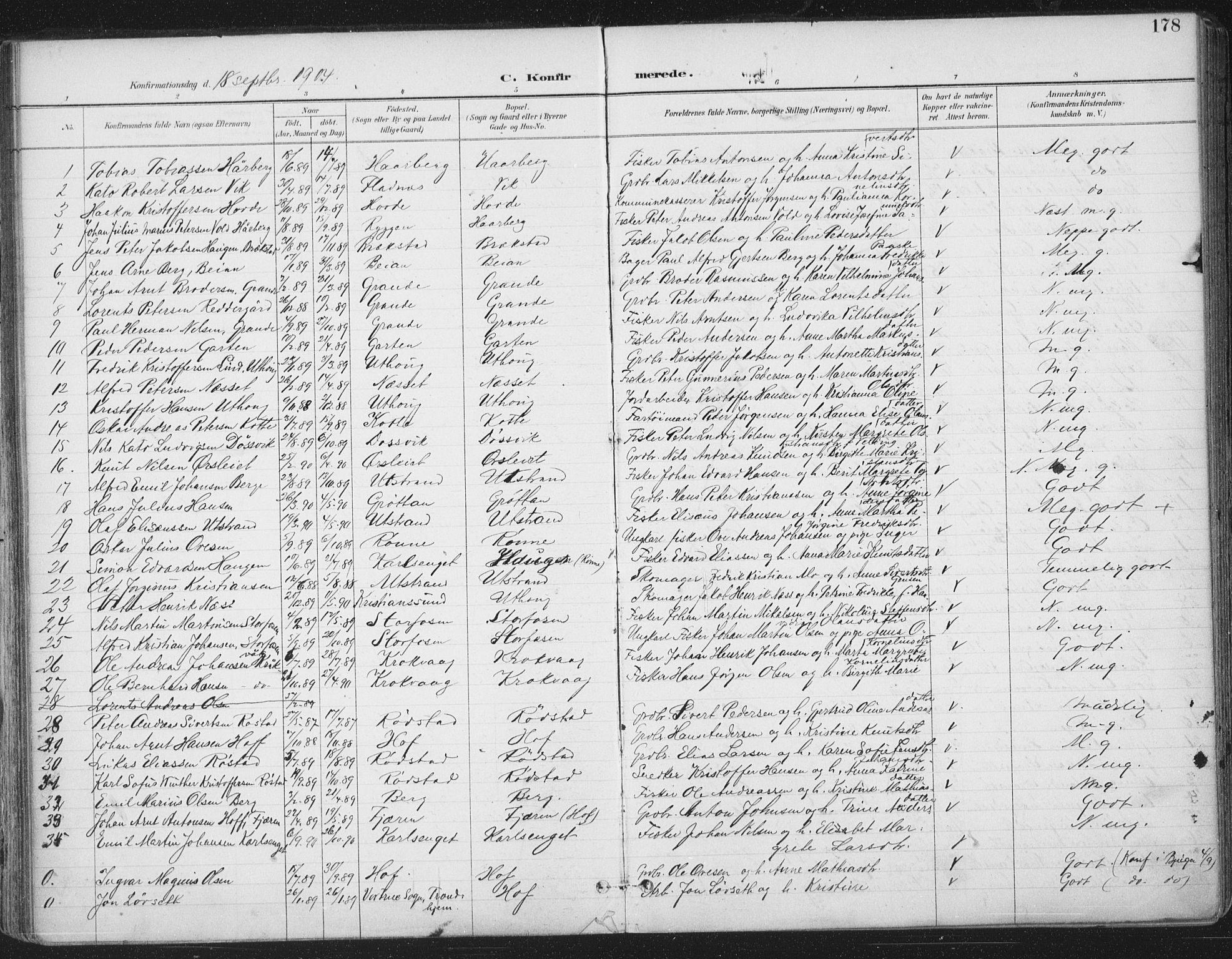 SAT, Ministerialprotokoller, klokkerbøker og fødselsregistre - Sør-Trøndelag, 659/L0743: Ministerialbok nr. 659A13, 1893-1910, s. 178