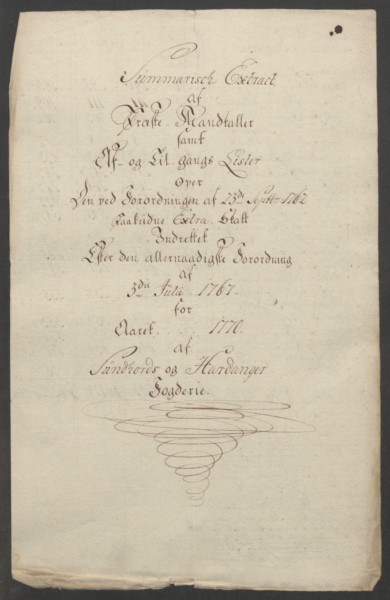 RA, Rentekammeret inntil 1814, Reviderte regnskaper, Fogderegnskap, R48/L3136: Ekstraskatten Sunnhordland og Hardanger, 1762-1772, s. 213