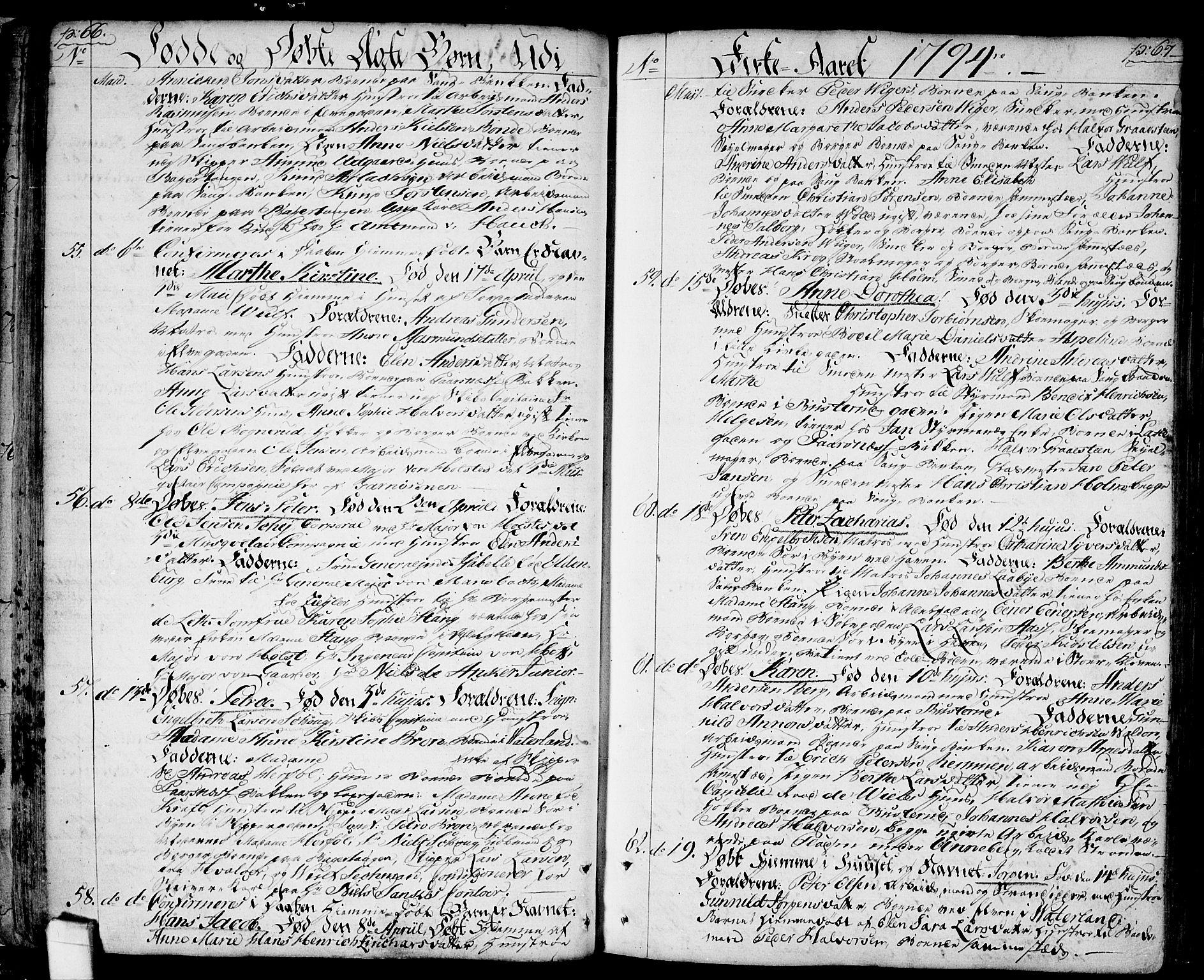 SAO, Halden prestekontor Kirkebøker, F/Fa/L0002: Ministerialbok nr. I 2, 1792-1812, s. 66-67